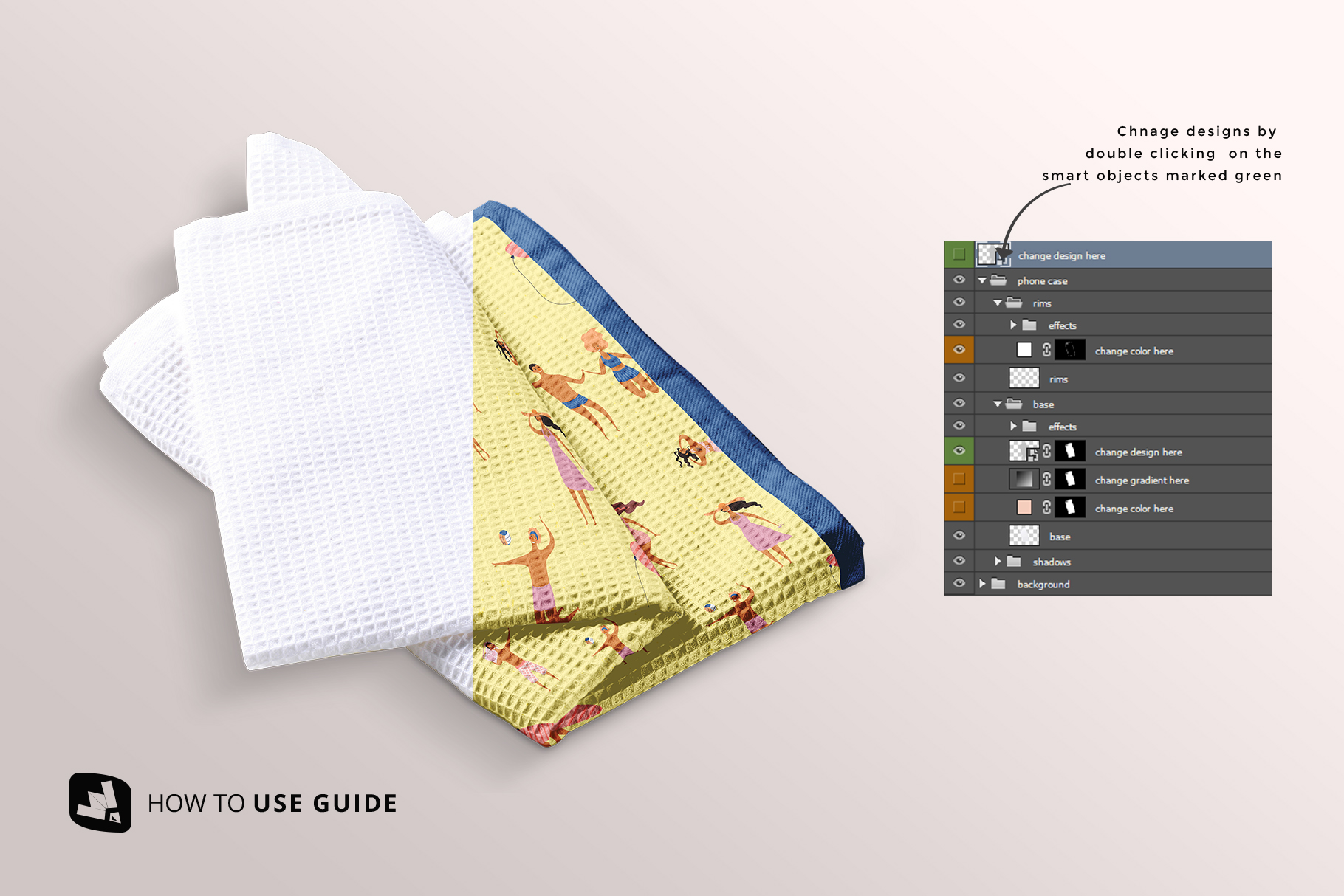 how to change design of the kitchen washcloth mockup