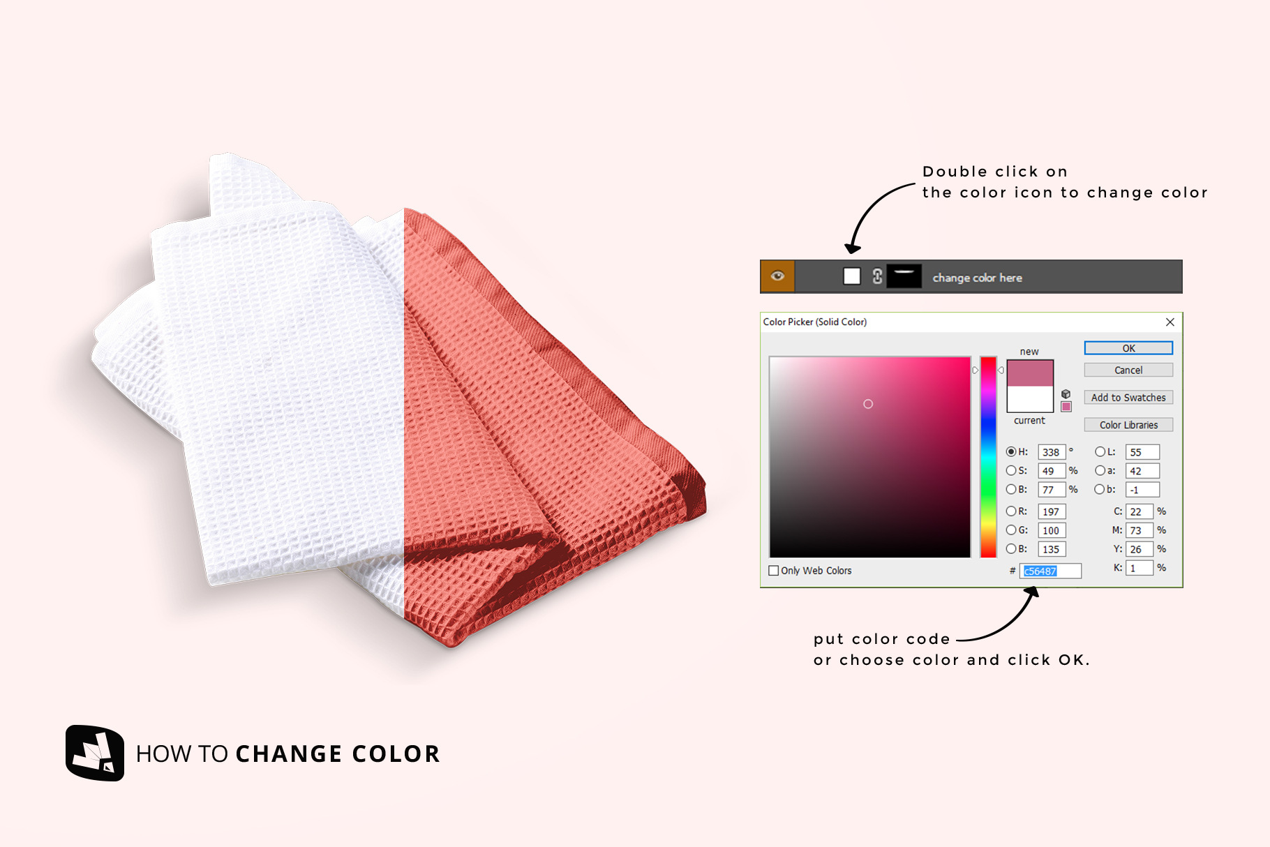 how to change color of the kitchen washcloth mockup