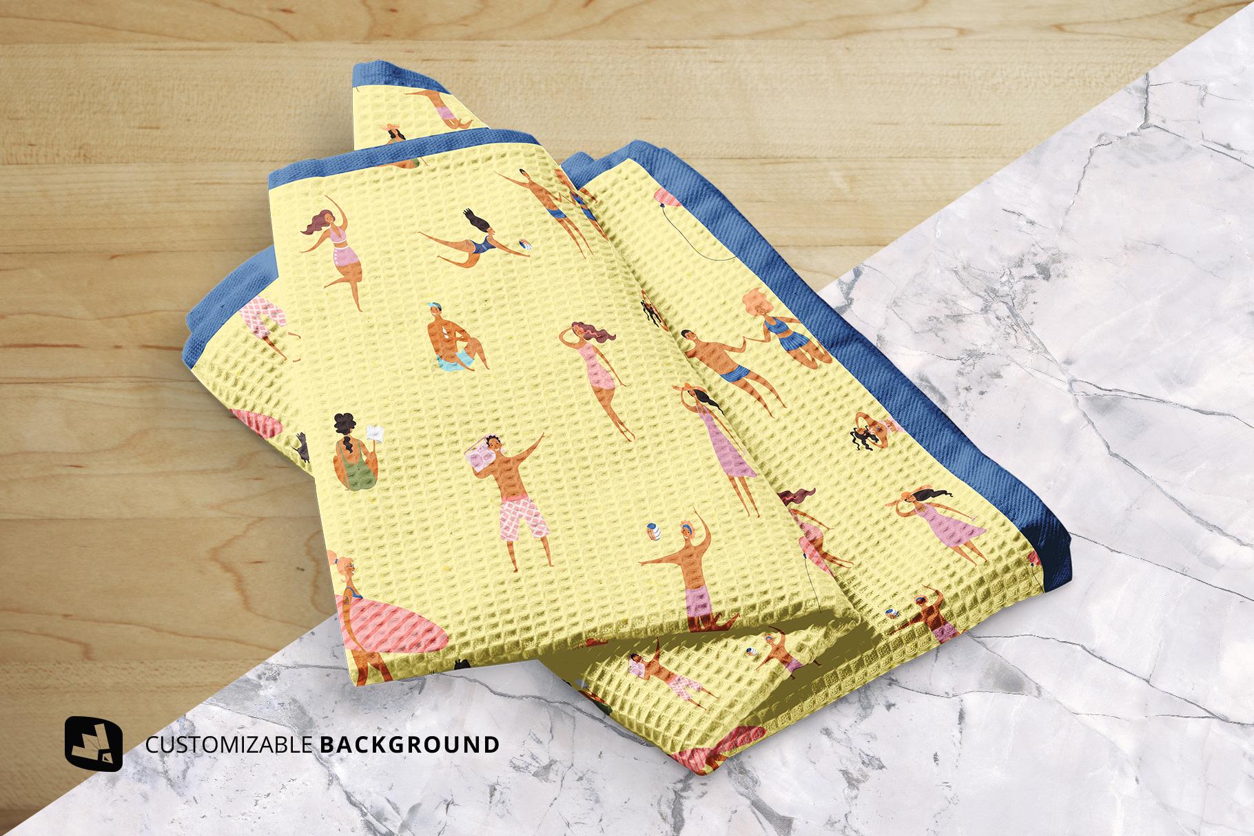 background options of the kitchen washcloth mockup
