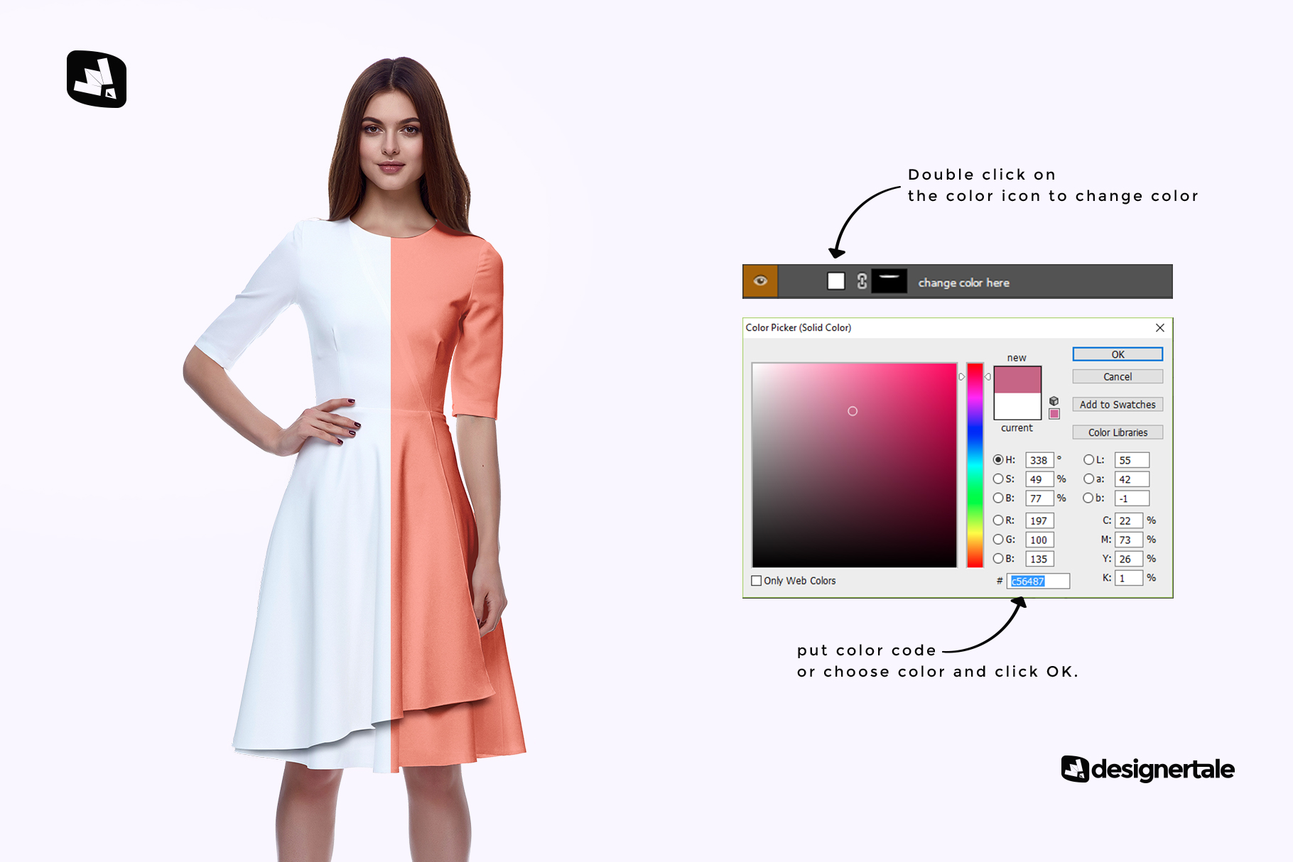 how to change color of the female formal dress mockup