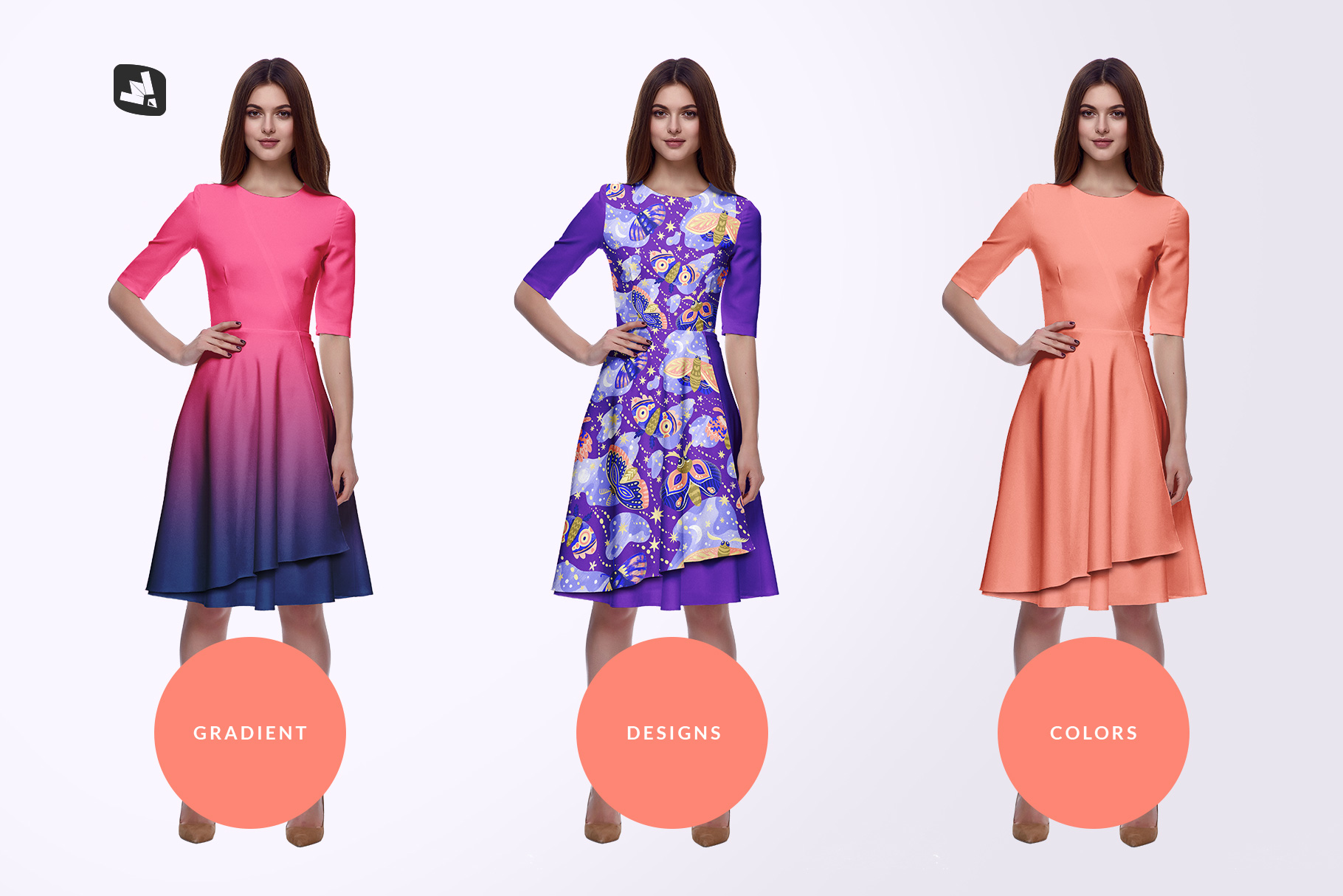 types of the female formal dress mockup