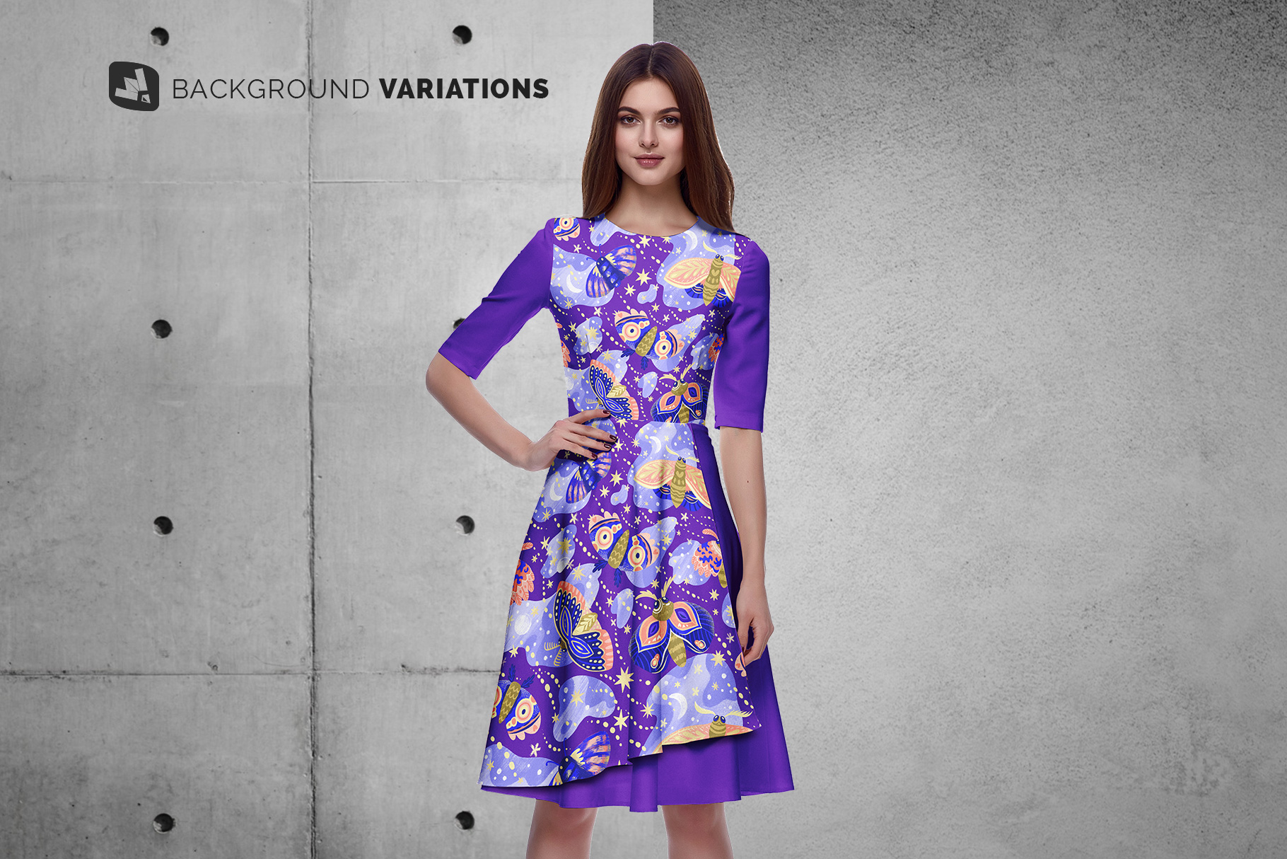 background options of the female formal dress mockup