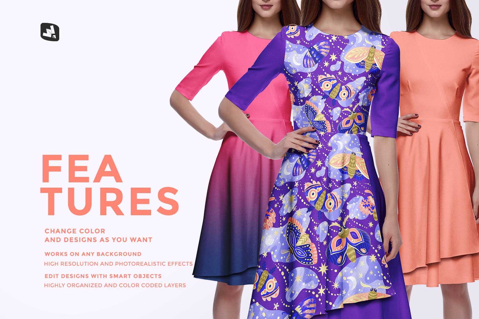 features of the female formal dress mockup
