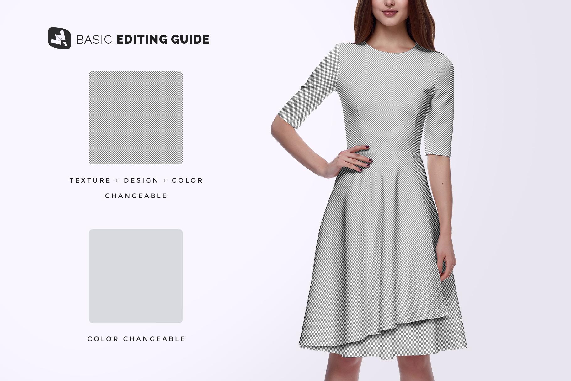 editability of the female formal dress mockup