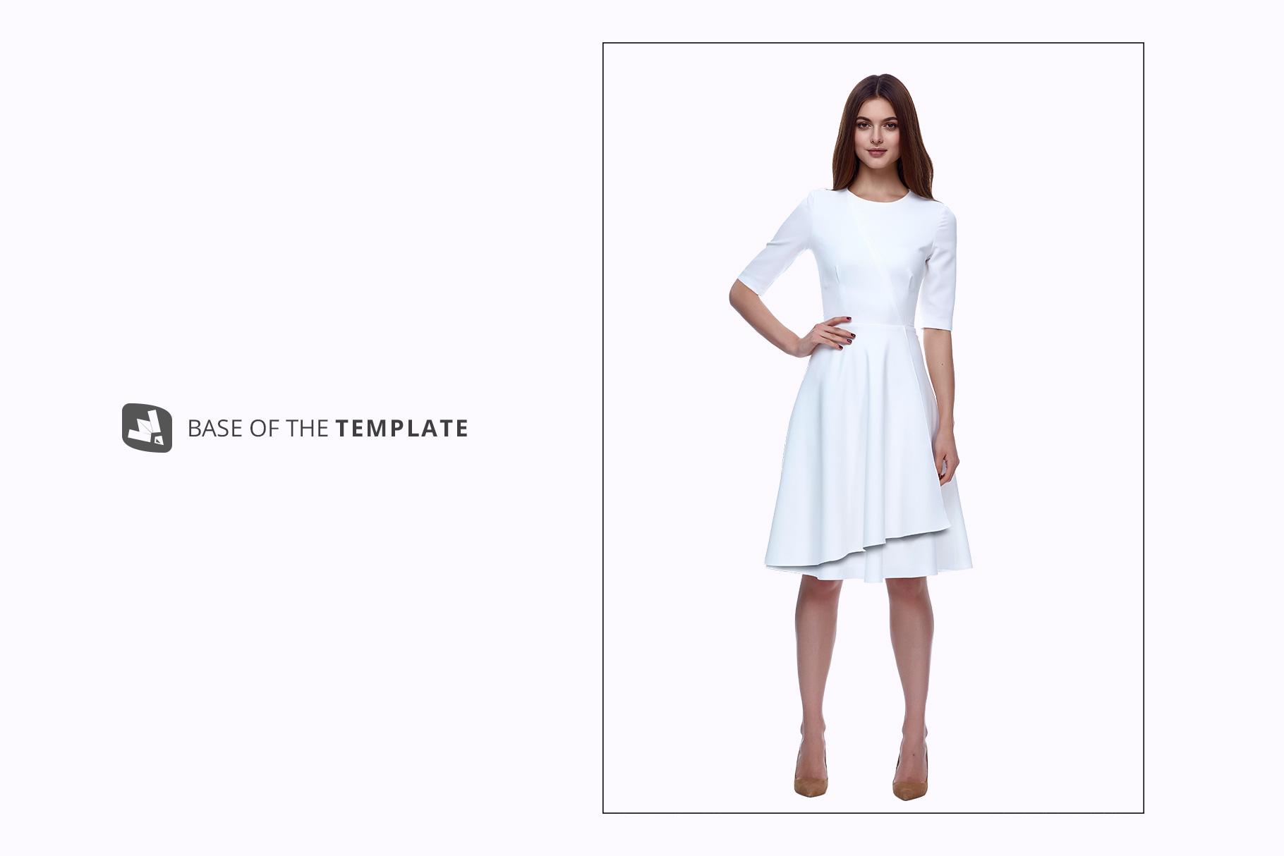 base image of the female formal dress mockup