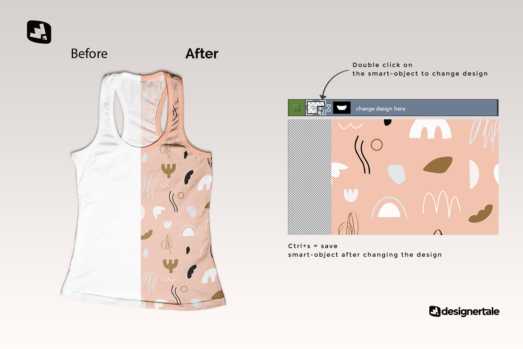 how to change design of the top view female tank top mockup