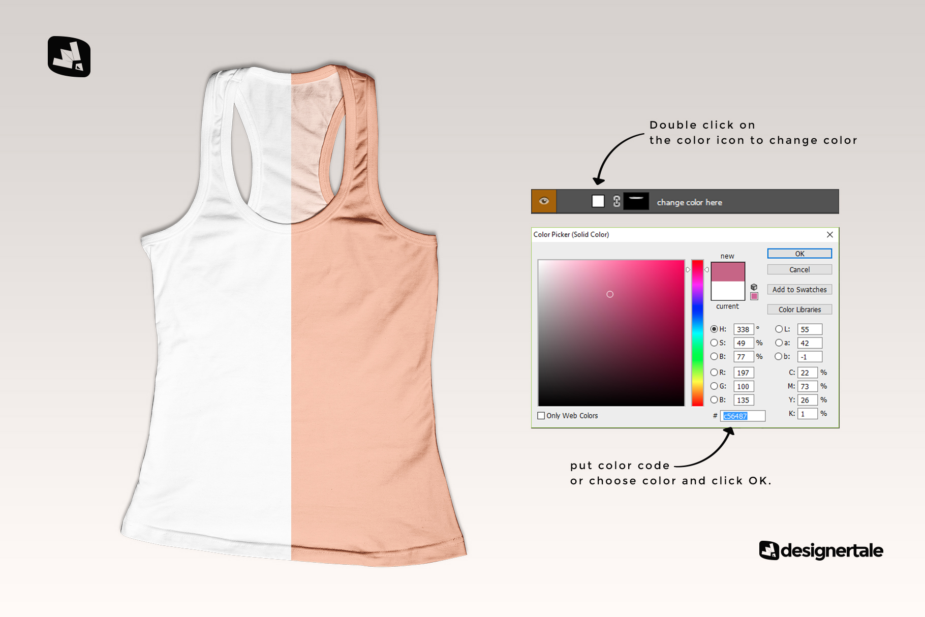 how to change color of the top view female tank top mockup