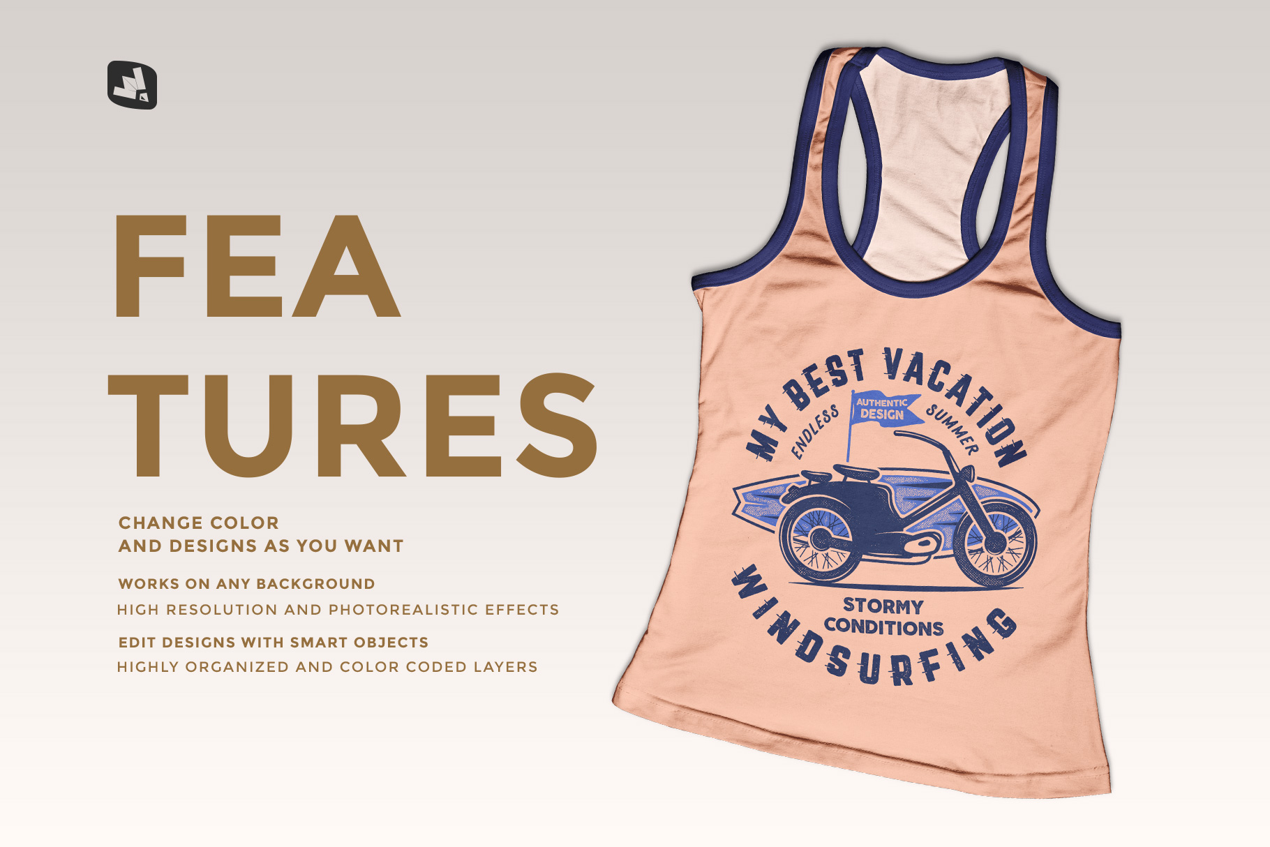 features of the top view female tank top mockup