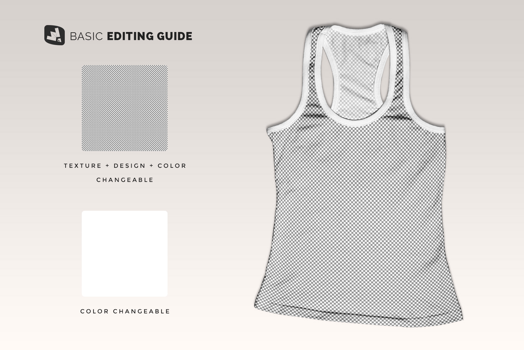 editability of the top view female tank top mockup