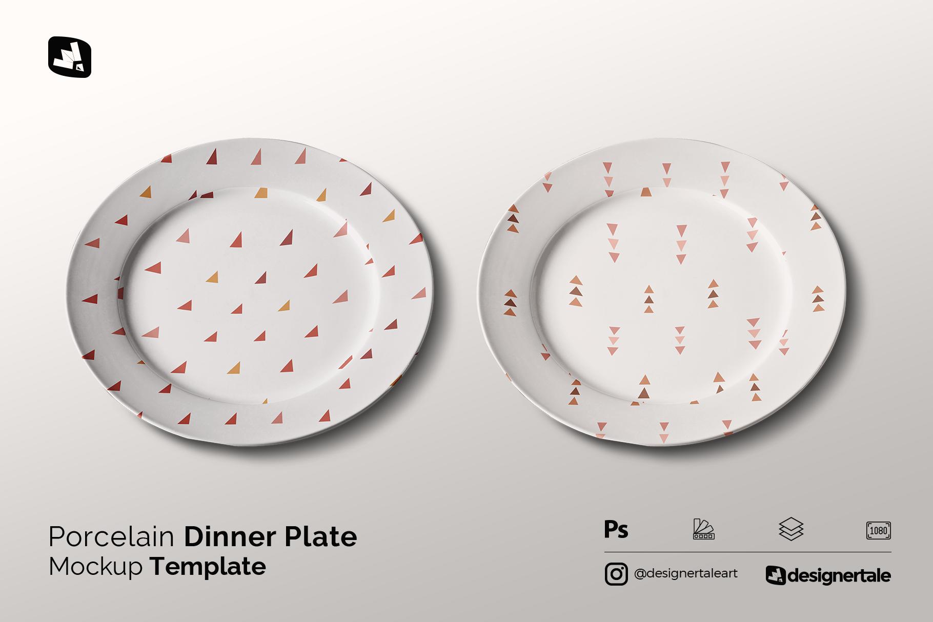 porcelain dinner plate mockup