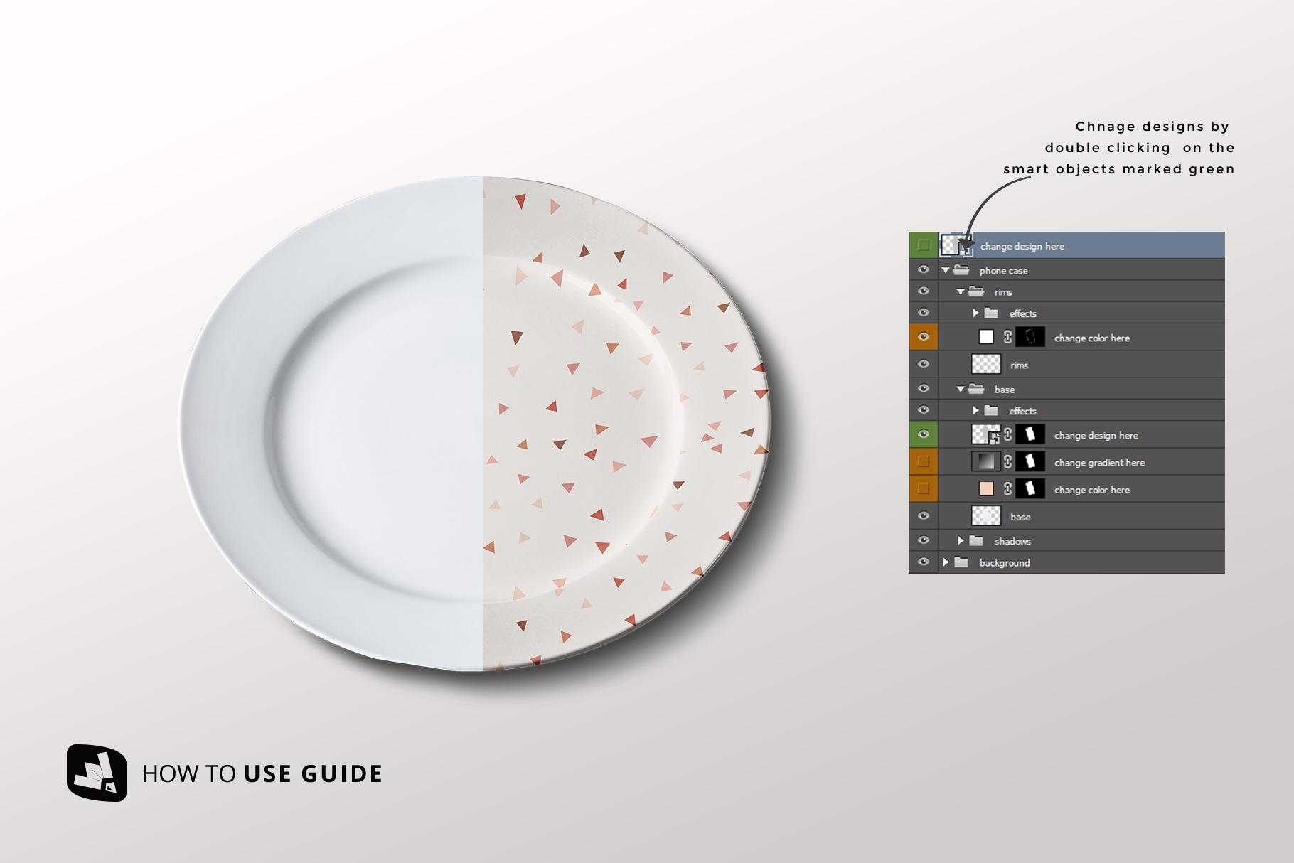 how to change design of the porcelain dinner plate mockup