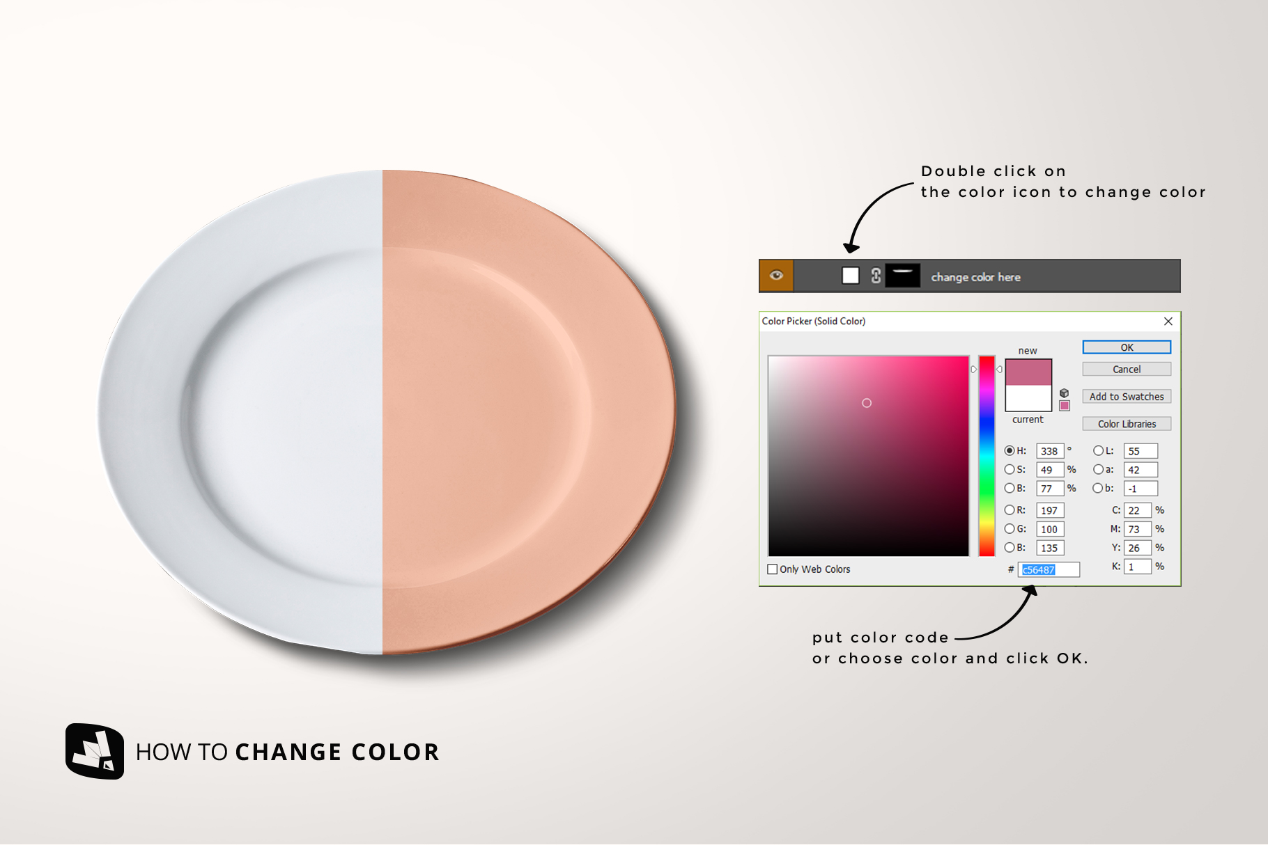 how to change color of the porcelain dinner plate mockup