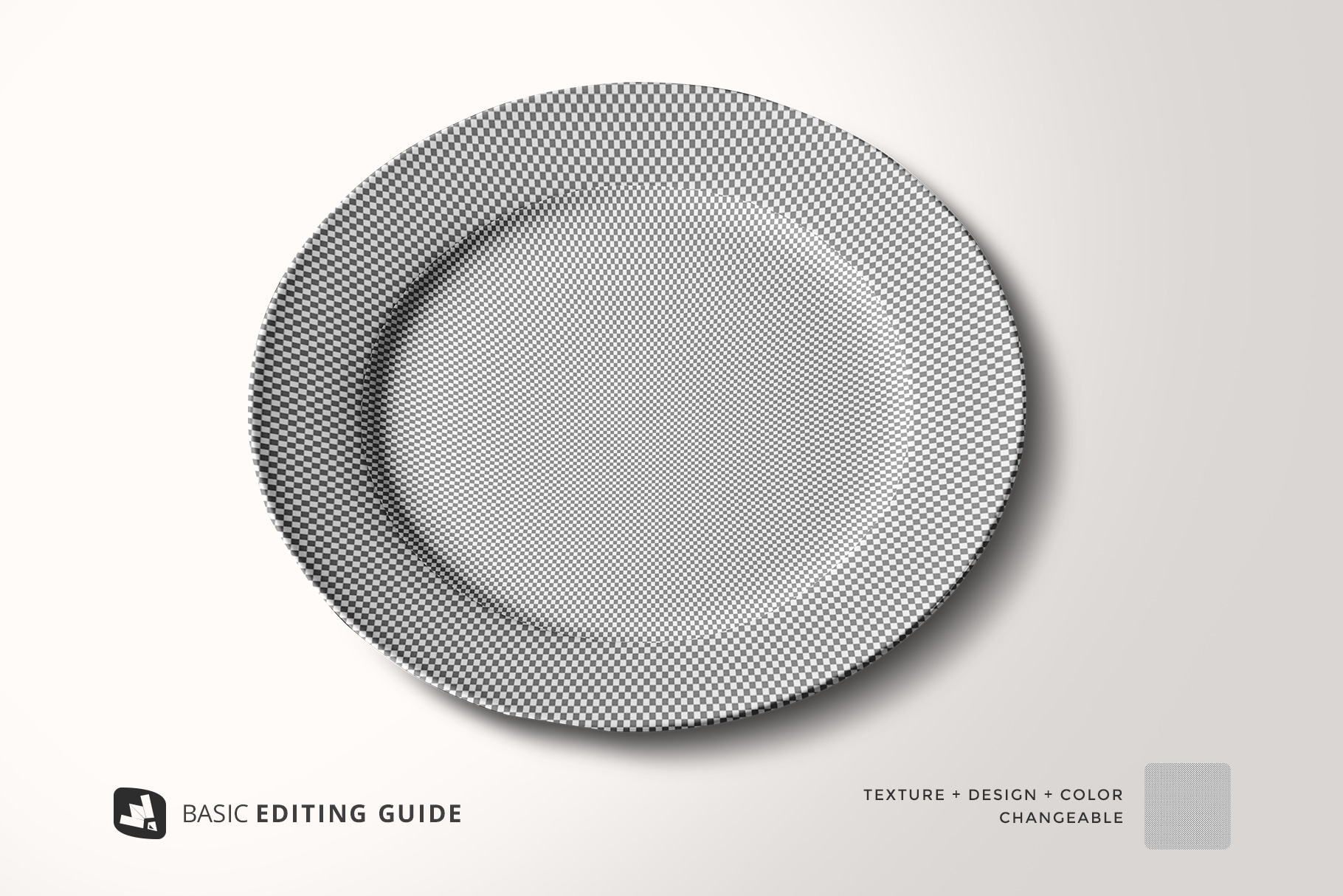 editability of the porcelain dinner plate mockup