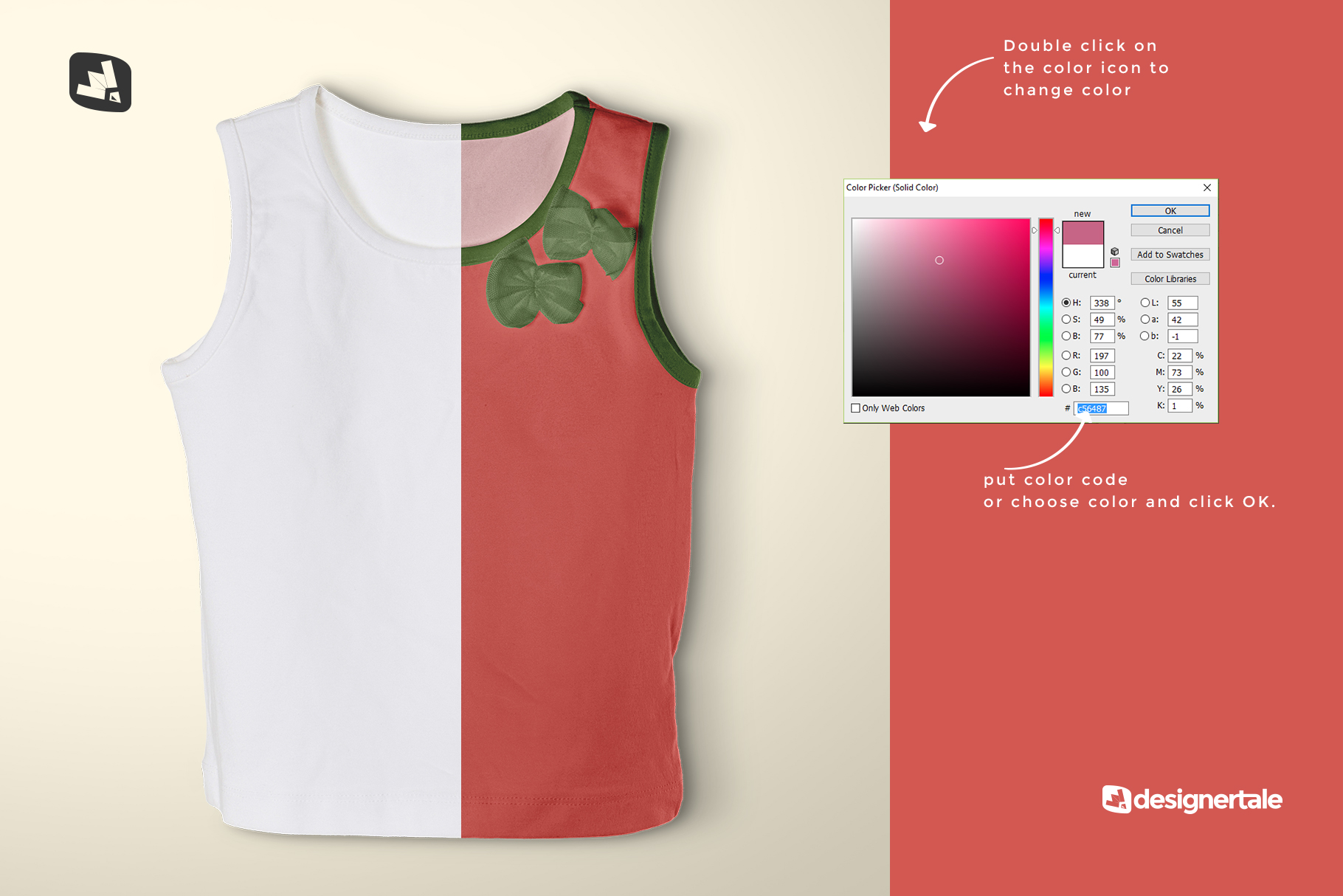 how to change color of the topview half sleeve girl top mockup