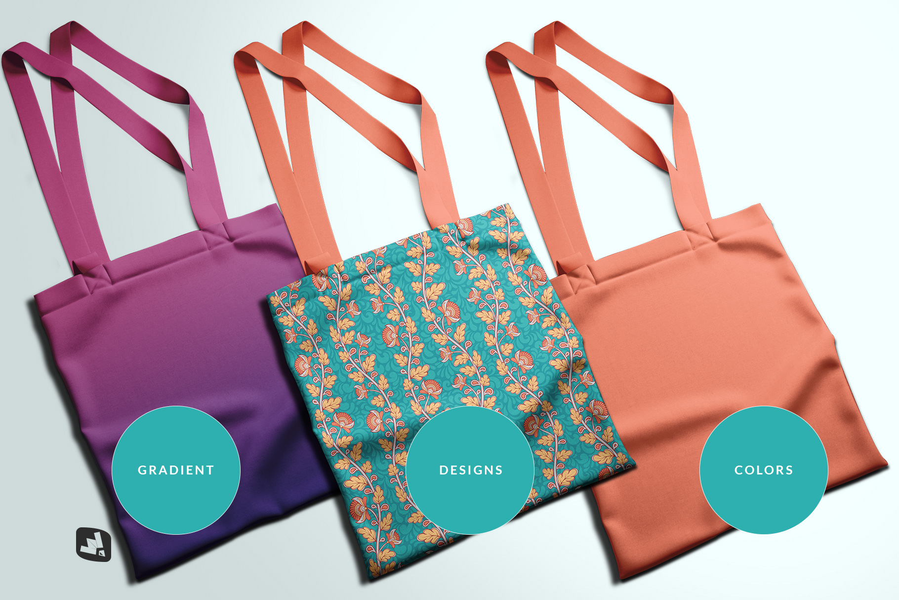 types of the topview reusable cotton bag mockup