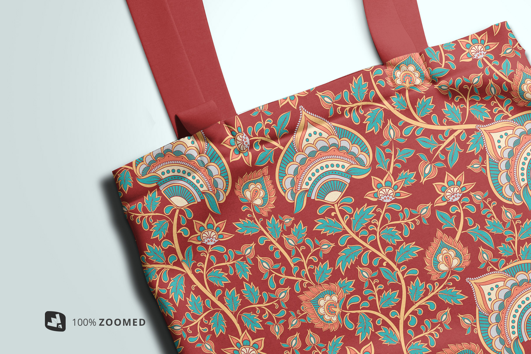 zoomed in image of the topview reusable cotton bag mockup