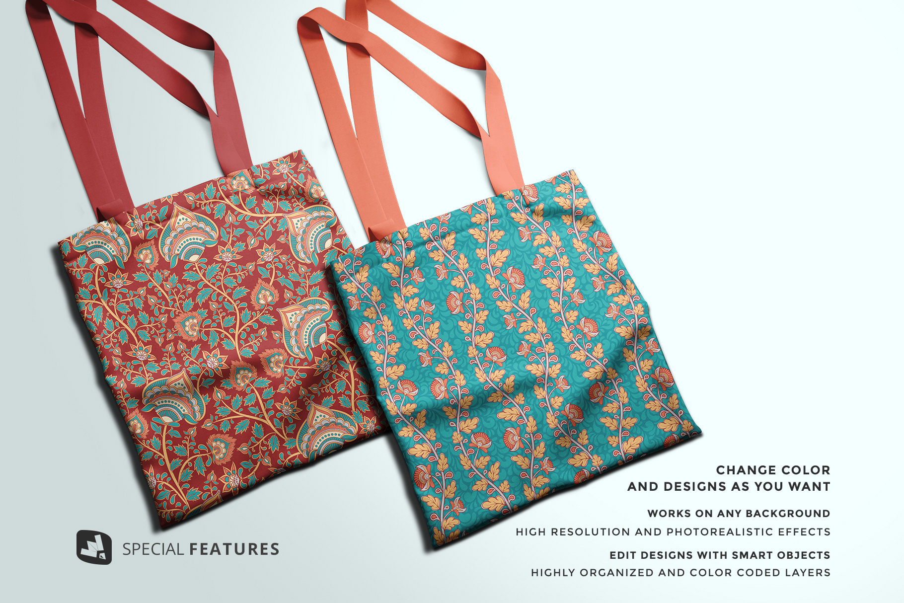 special features of the topview reusable cotton bag mockup