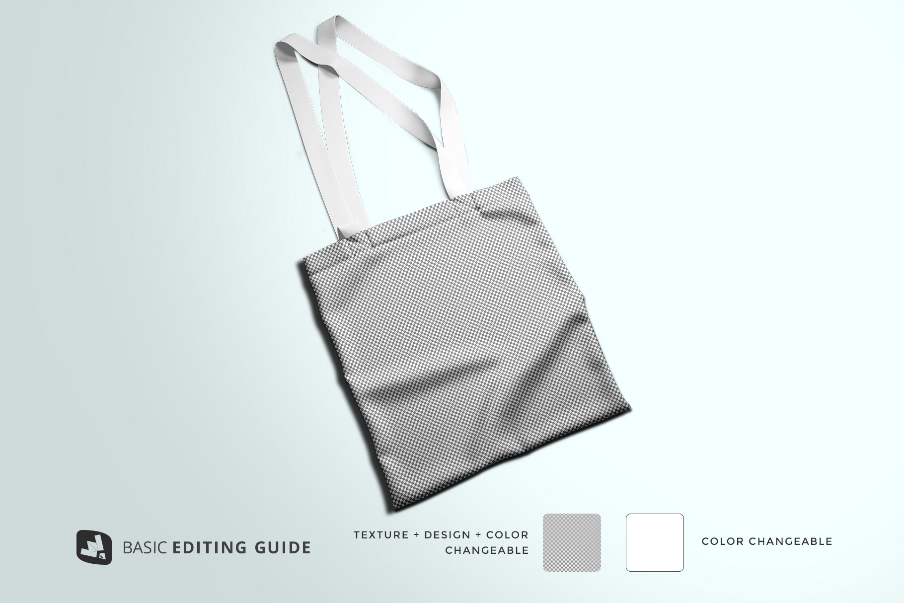 editability of the topview reusable cotton bag mockup