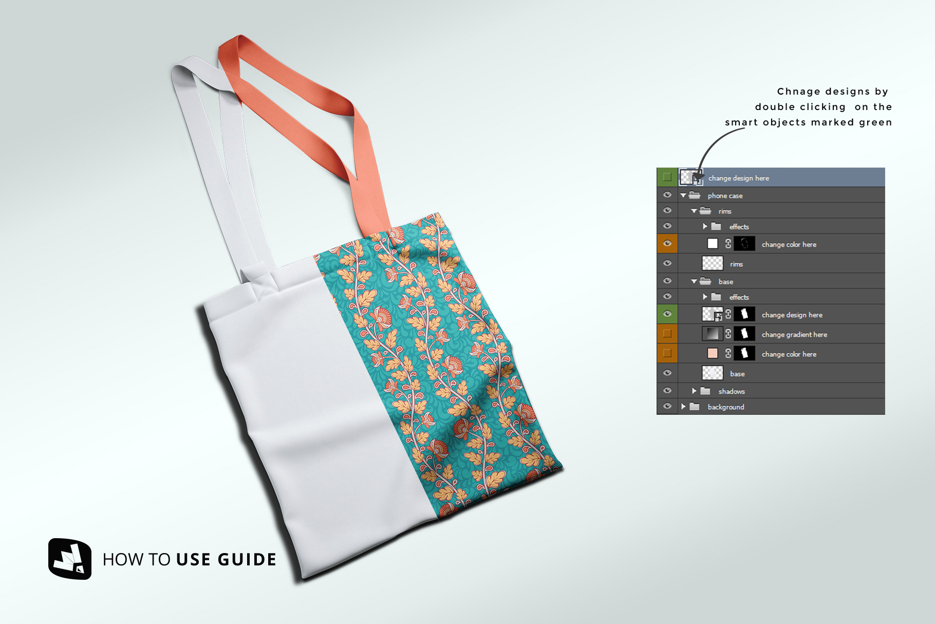 how to change design of the topview reusable cotton bag mockup