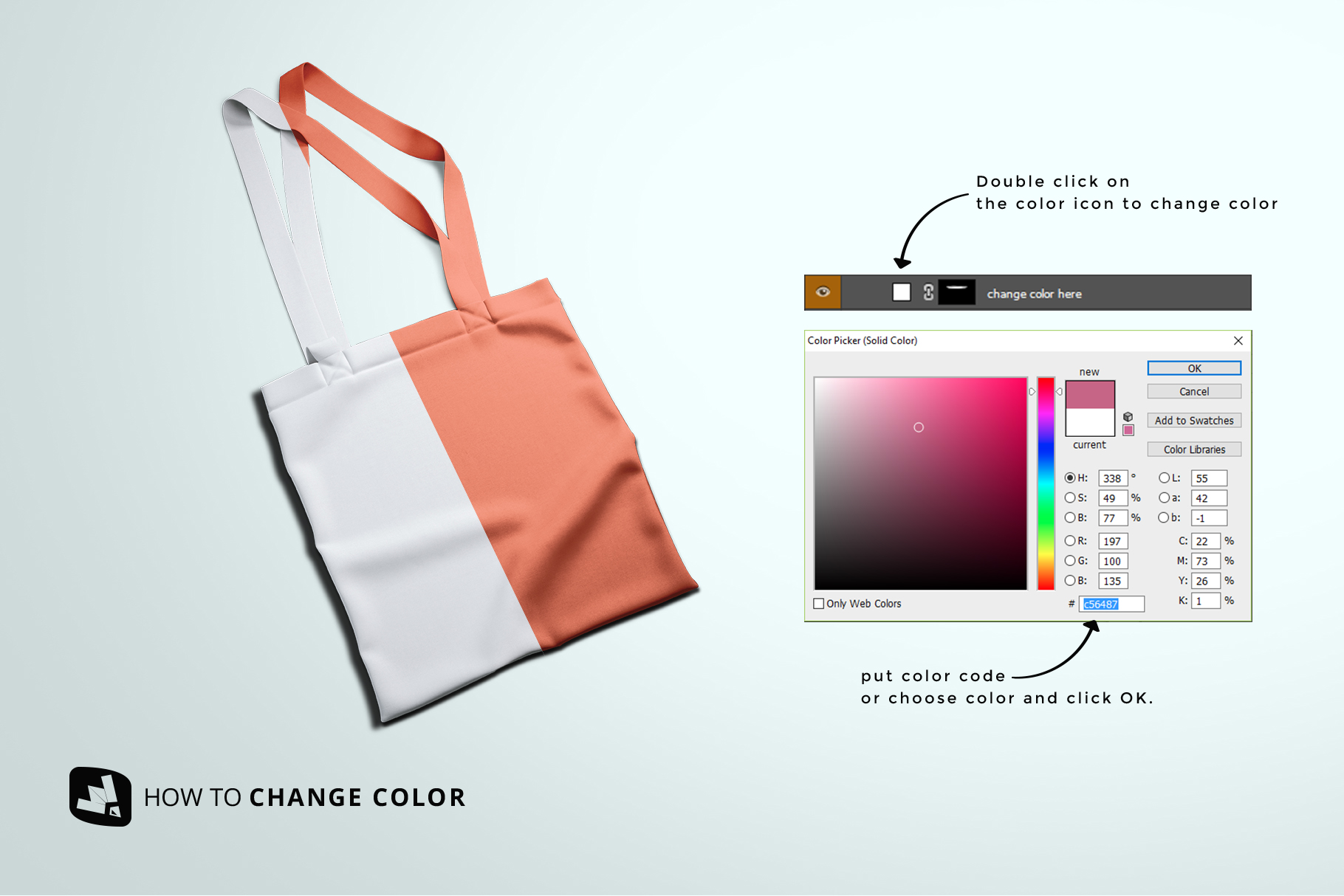 how to change color of the topview reusable cotton bag mockup