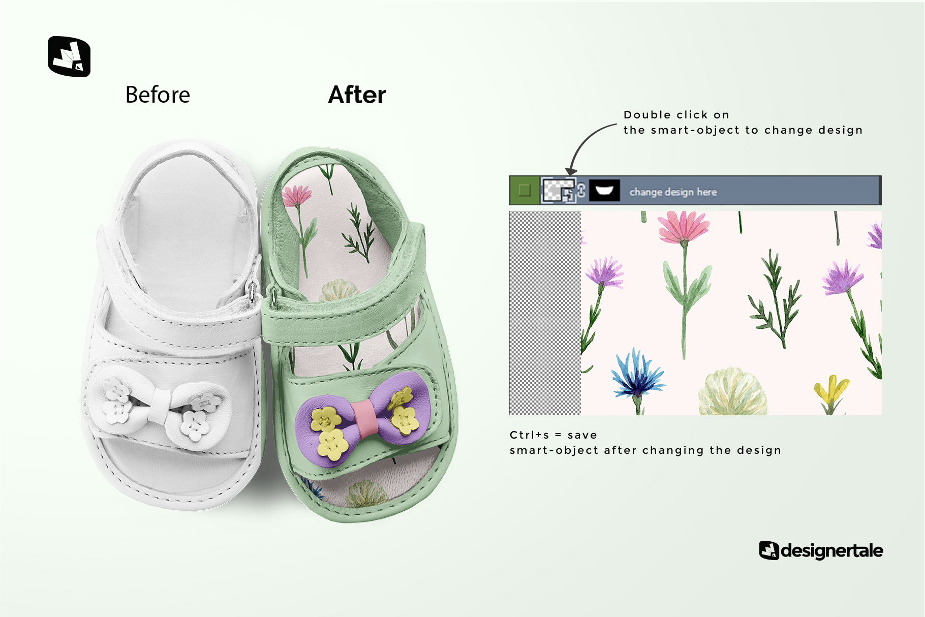 how to change design of the topview baby sandals with bow mockup