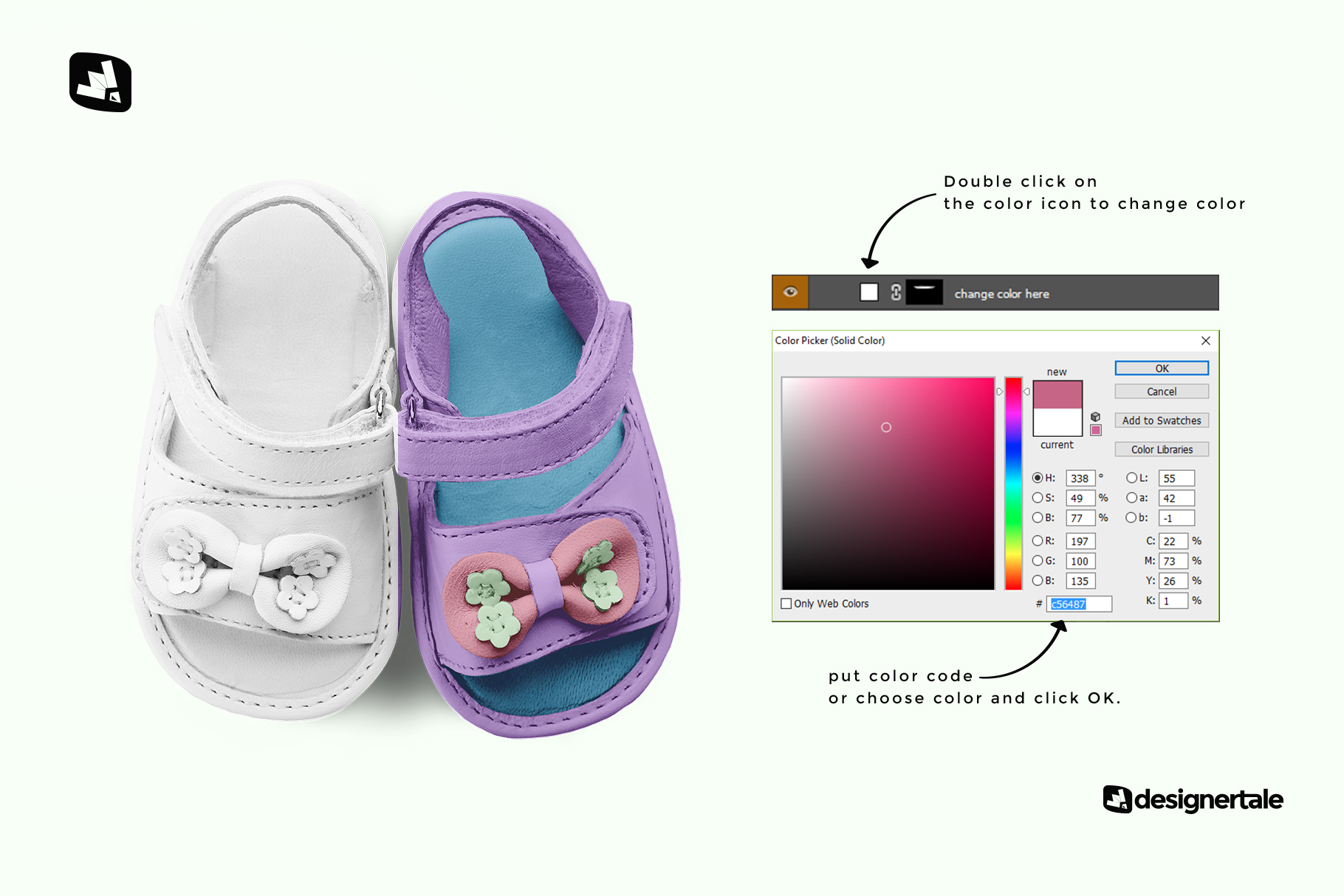 how to change color of the topview baby sandals with bow mockup