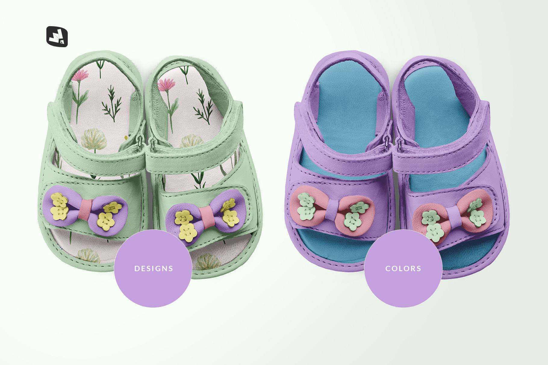 types of the topview baby sandals with bow mockup