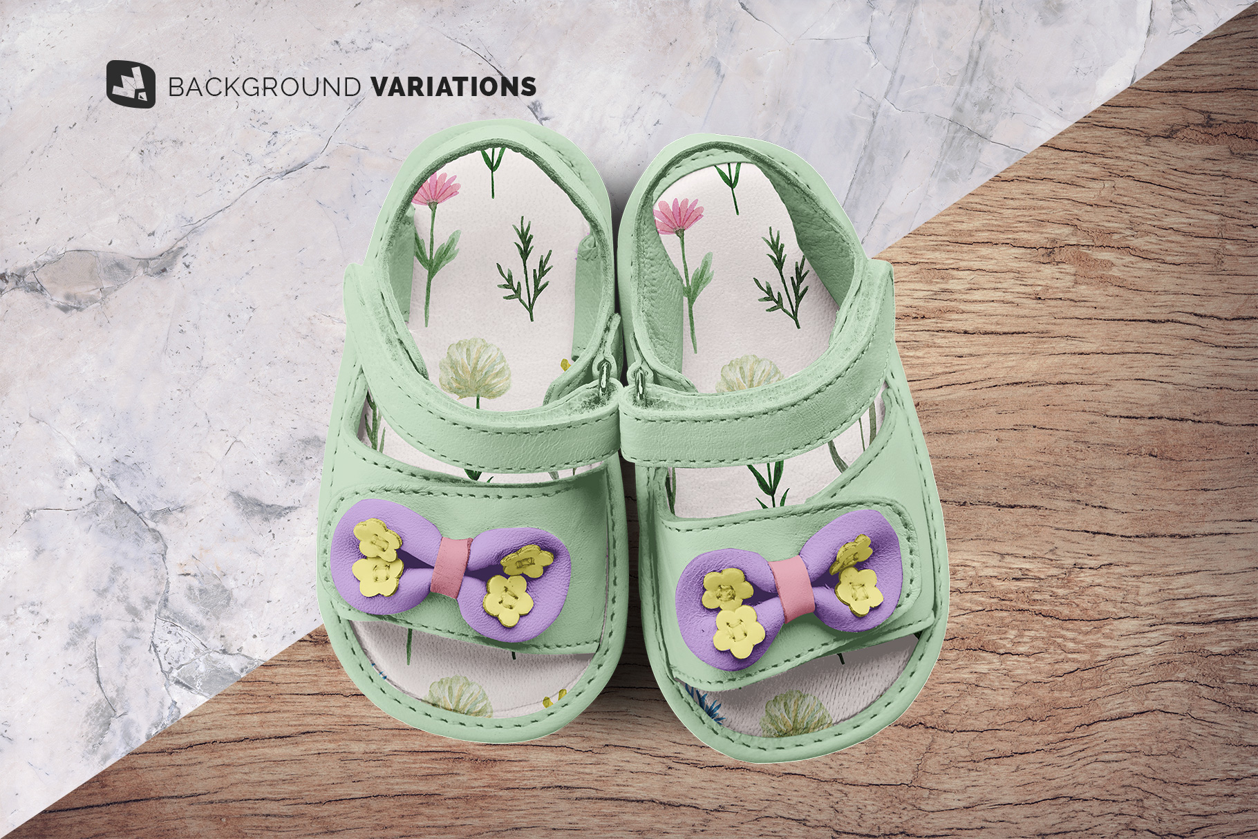 background options of the topview baby sandals with bow mockup