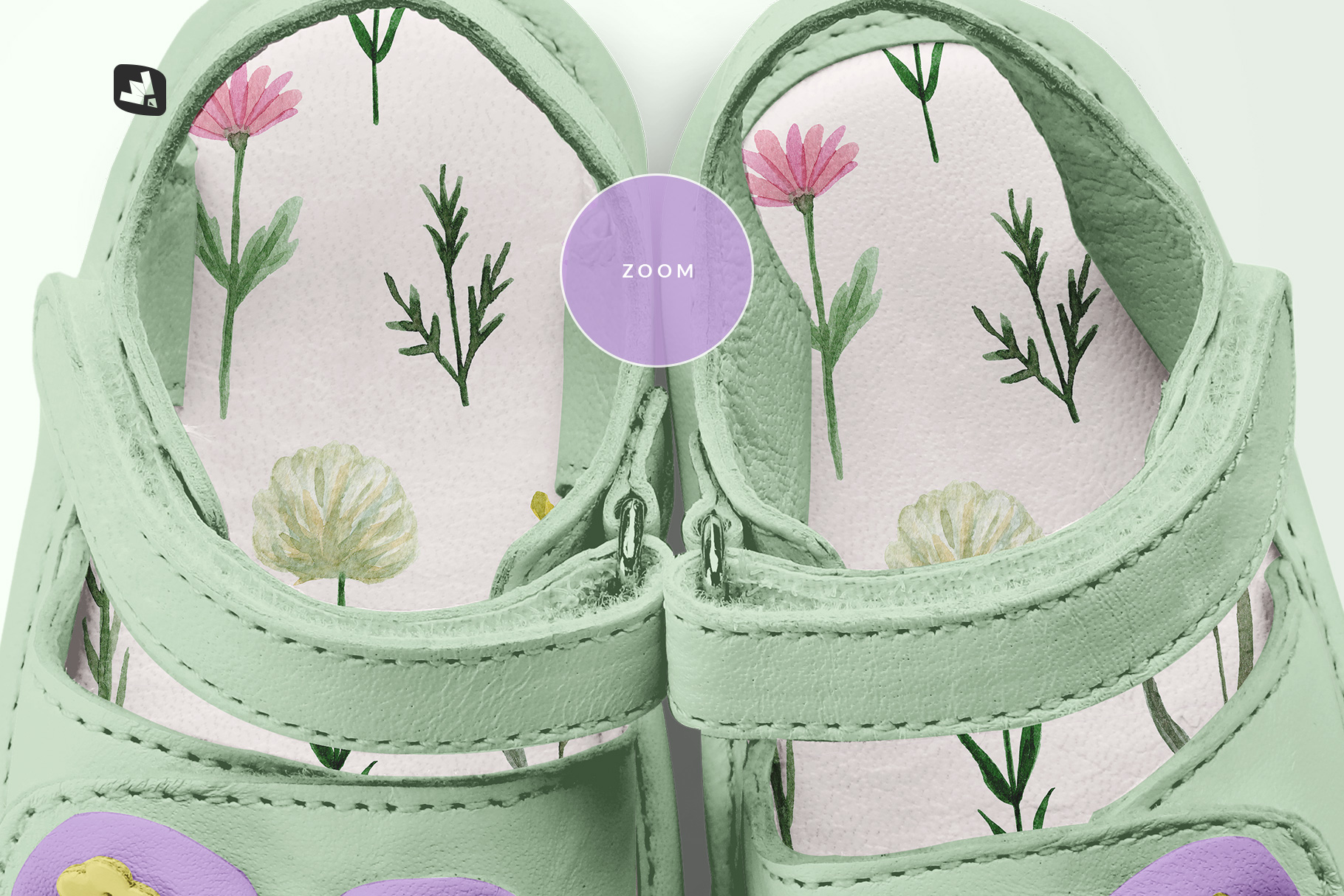 zoomed in image of the topview baby sandals with bow mockup