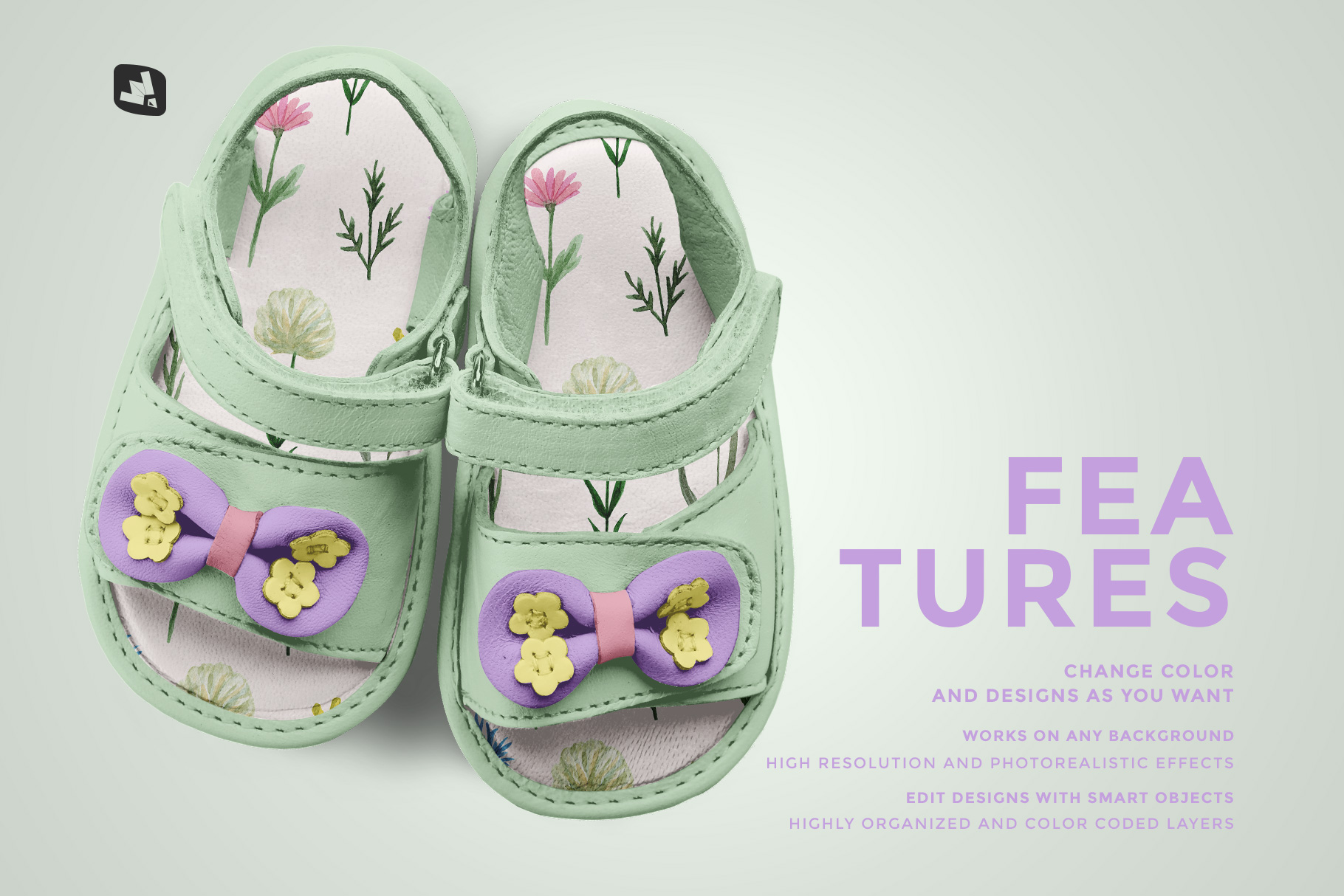 features of the topview baby sandals with bow mockup