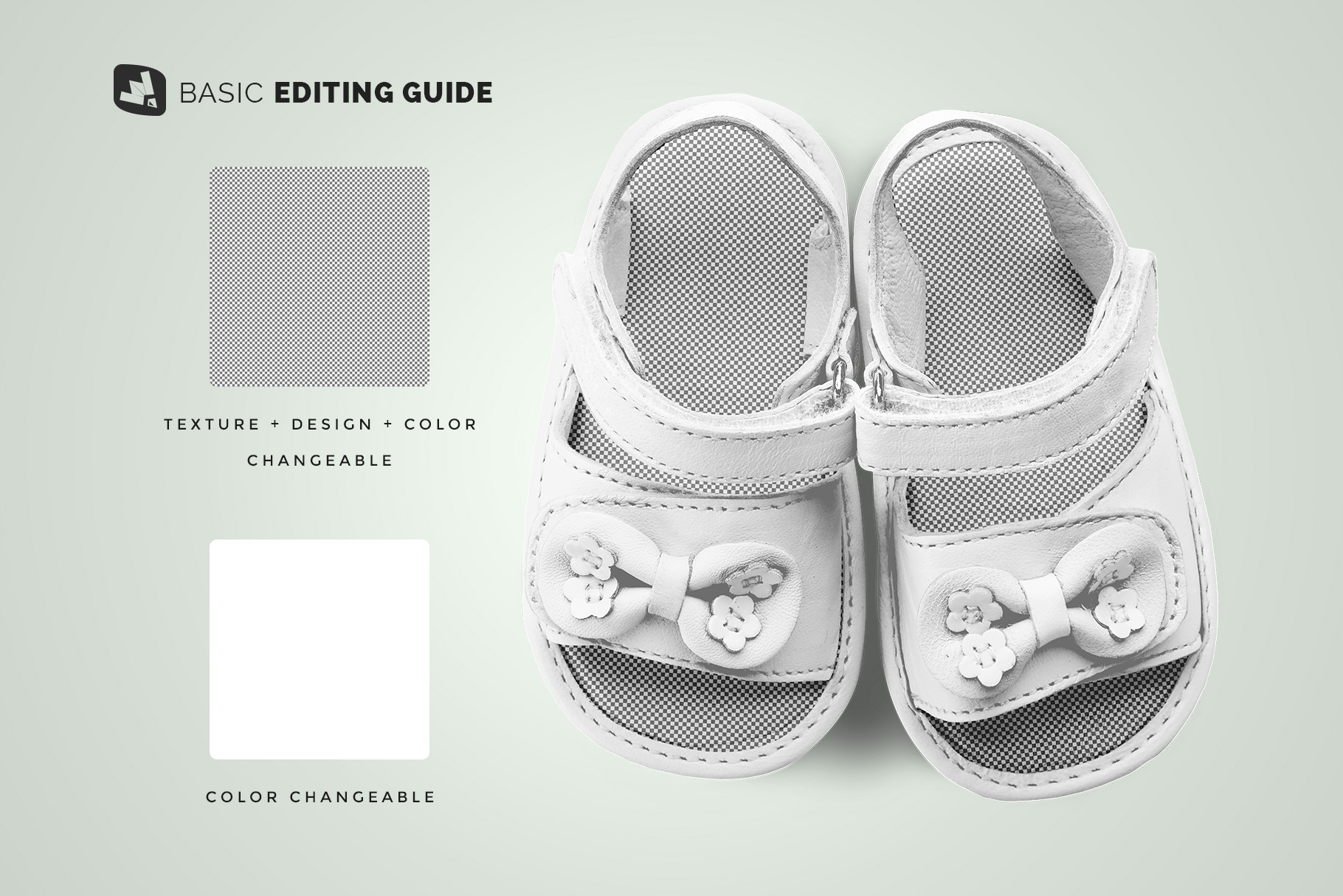 editability of the topview baby sandals with bow mockup