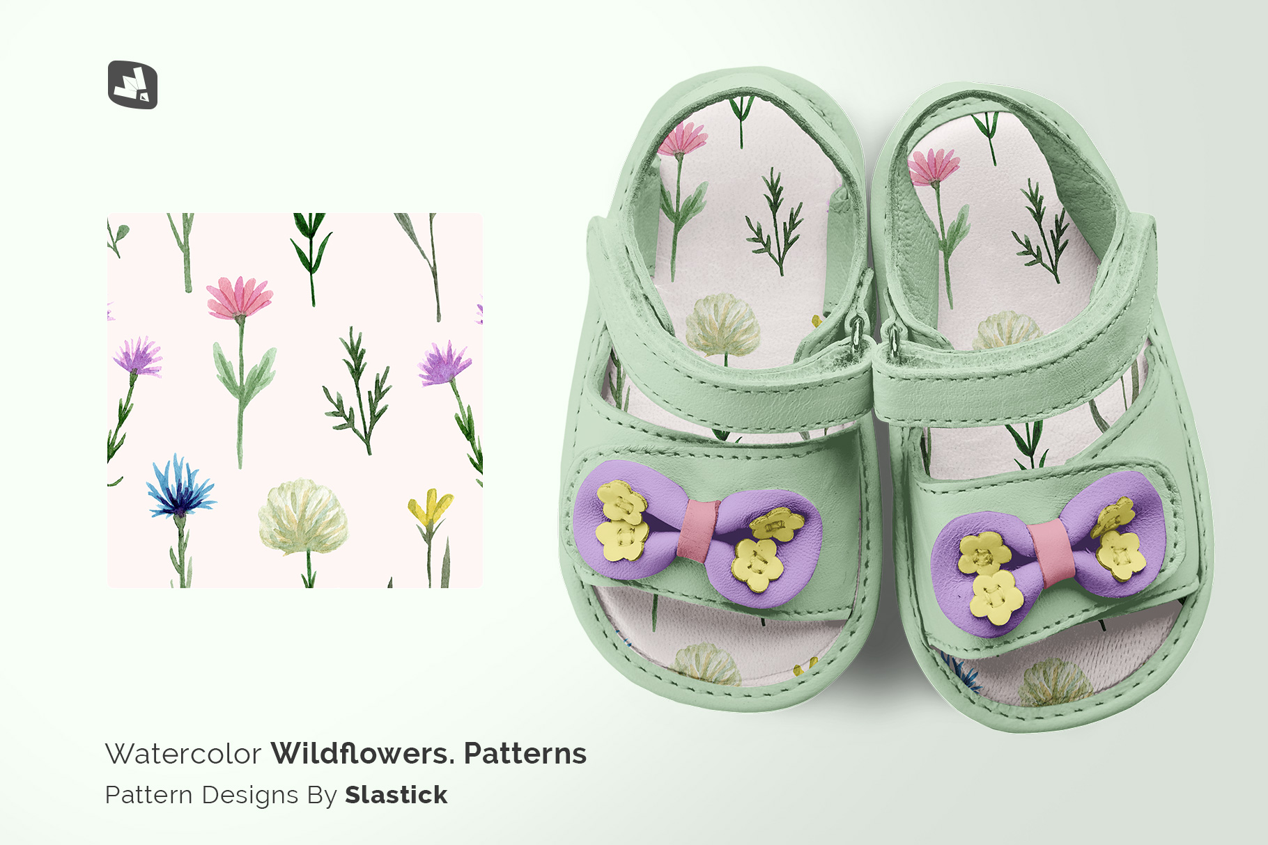 designer'as credit of the topview baby sandals with bow mockup