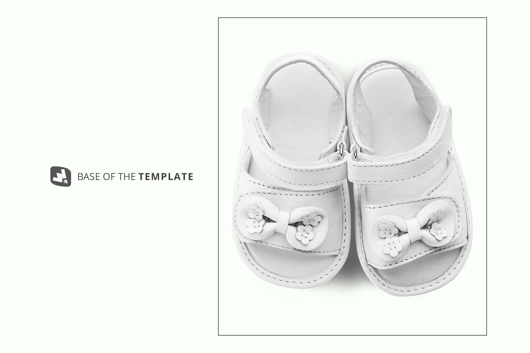 base image of the topview baby sandals with bow mockup