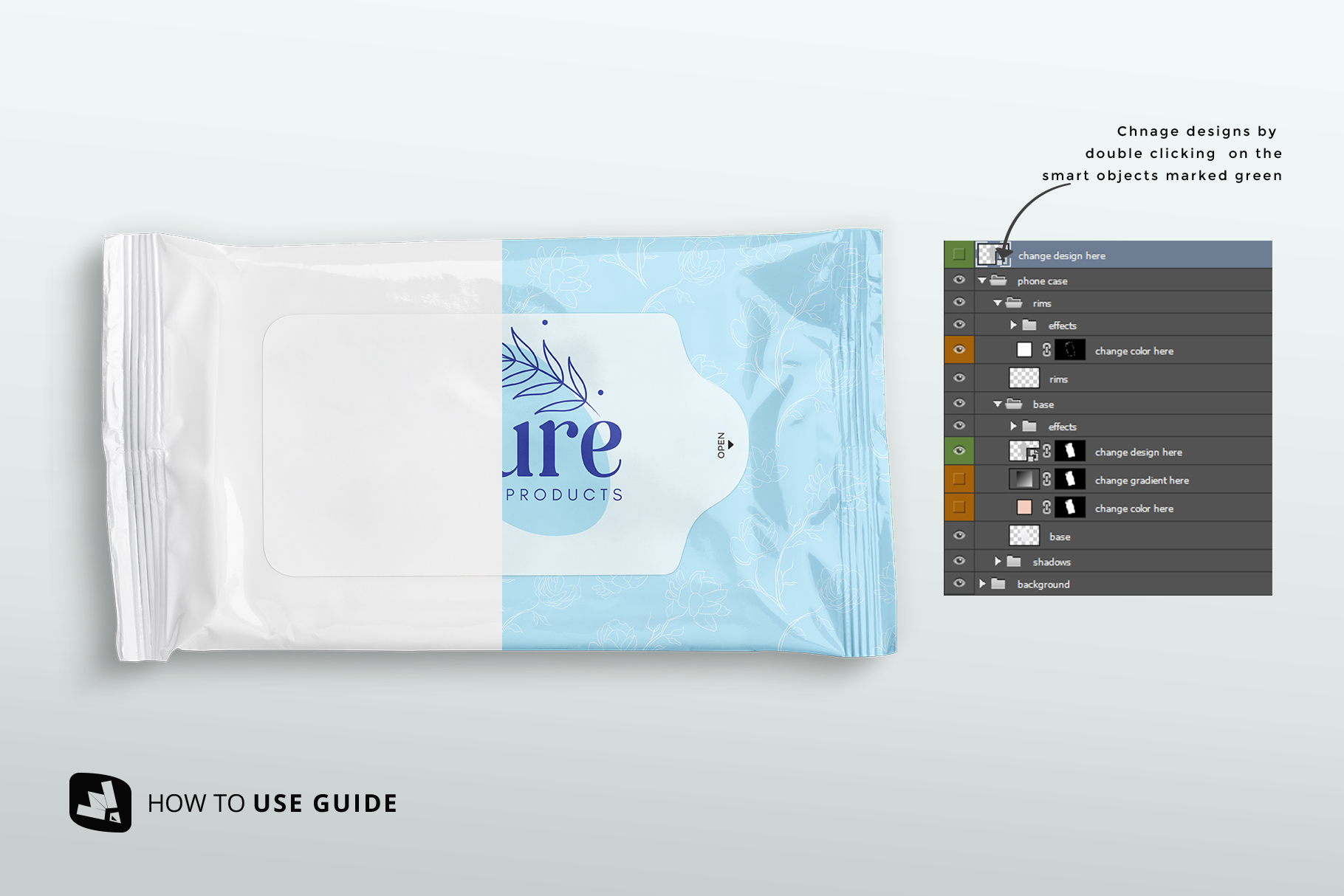 how to change label desig of the disposable wipes packaging mockup