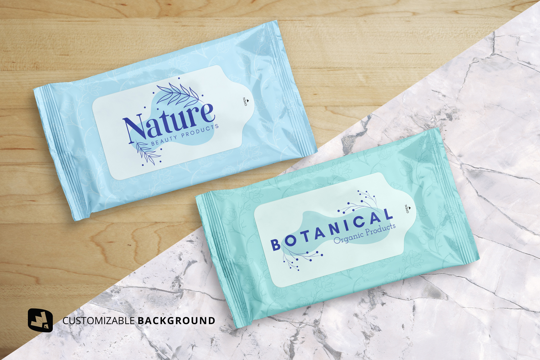 background options of the disposable wipes packaging mockup