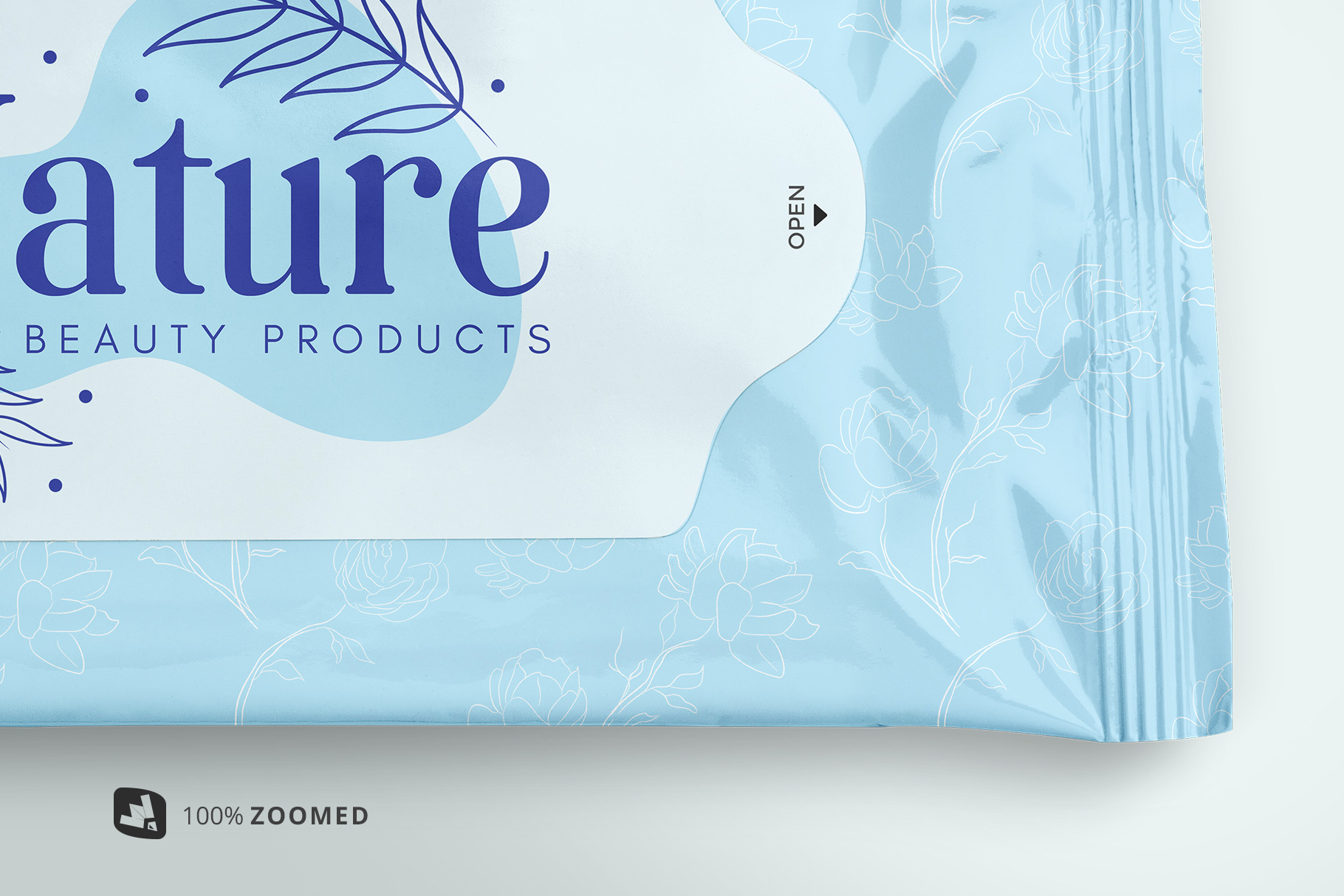 zoomed in image of the disposable wipes packaging mockup