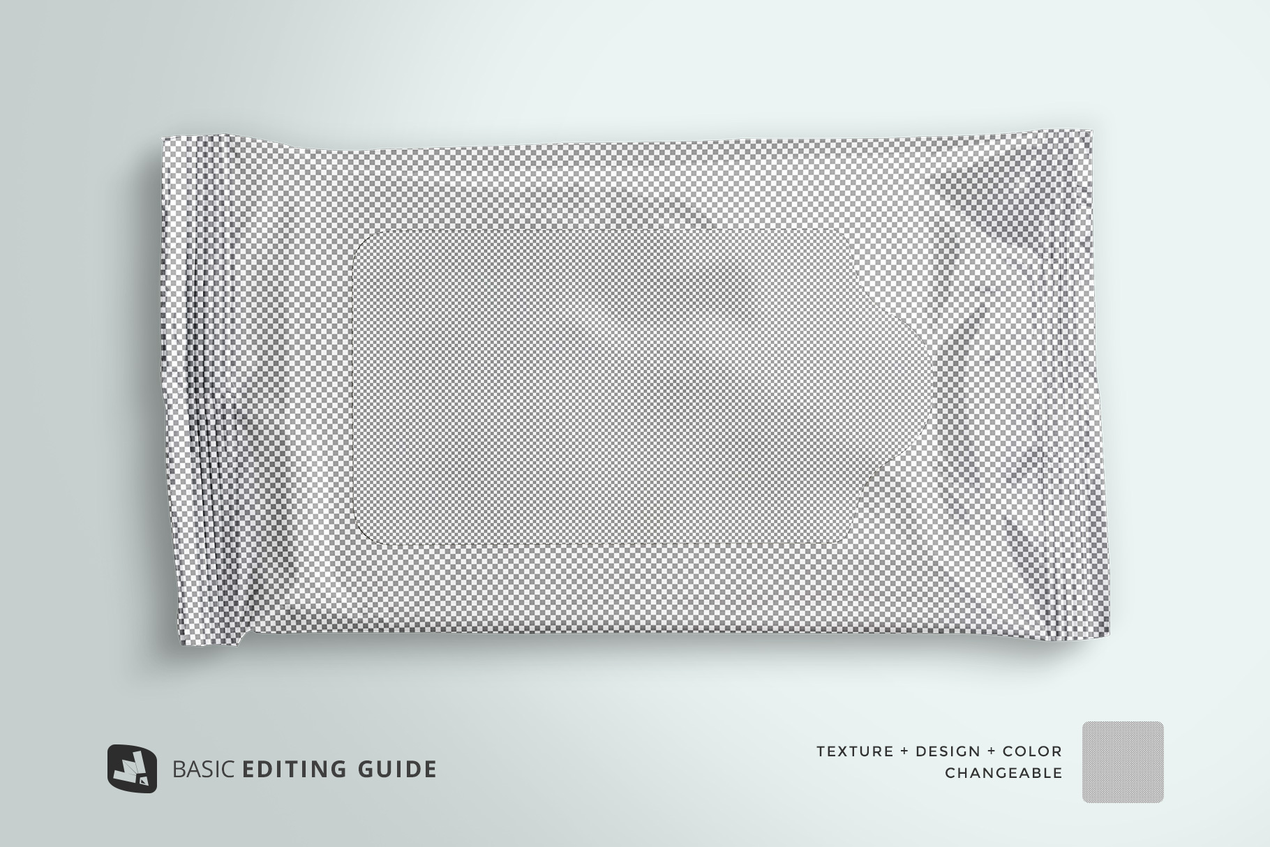 editability of the disposable wipes packaging mockup