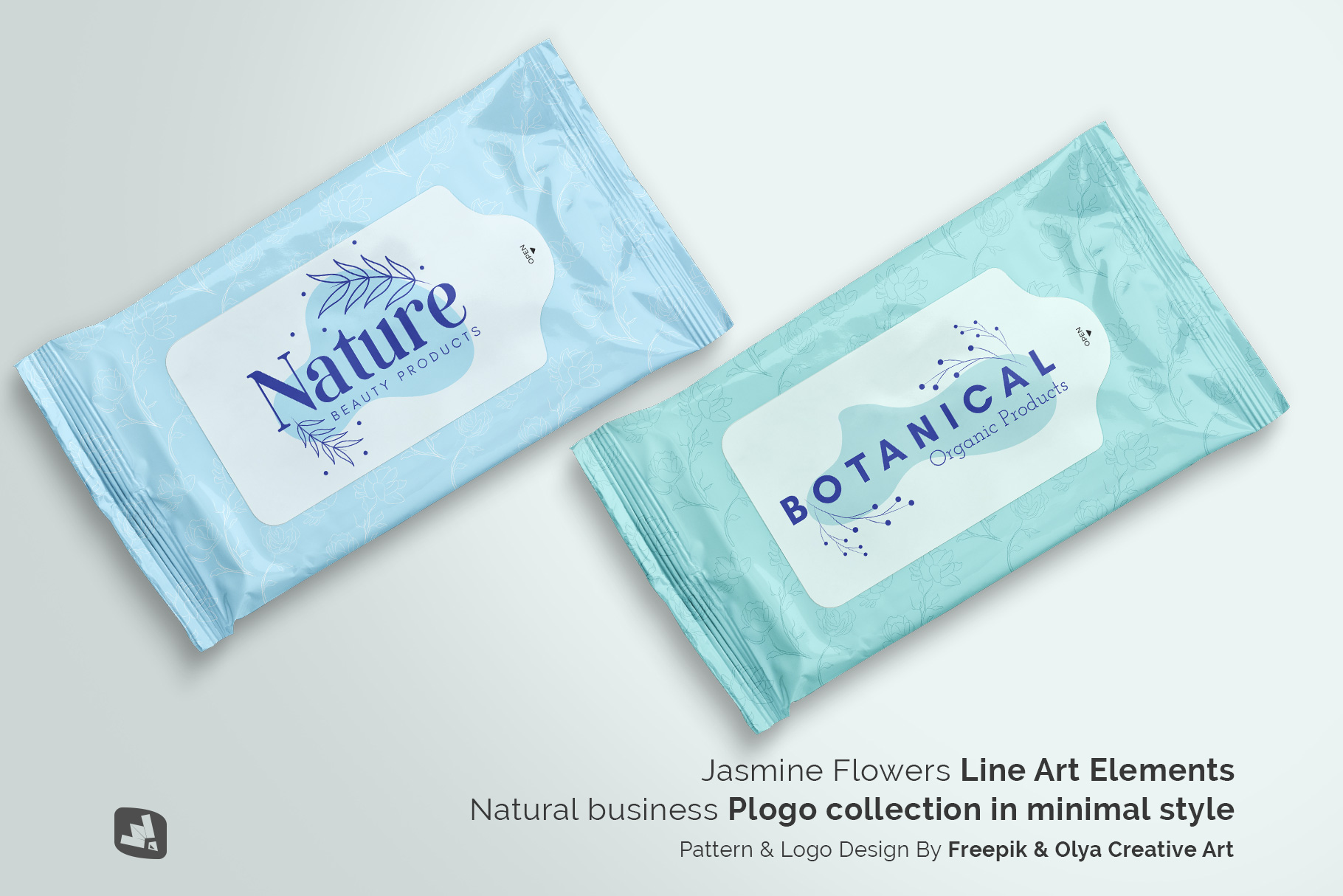 designer's credit of the disposable wipes packaging mockup