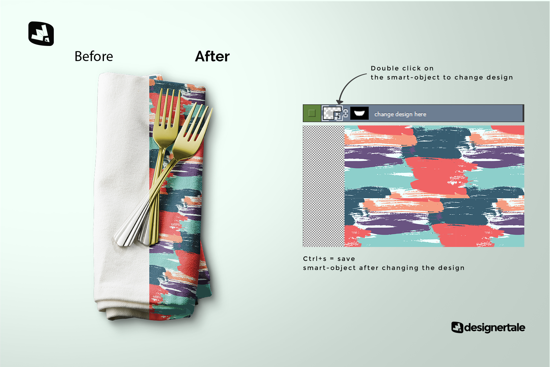 how to change design of the dinner napkin with cutlery mockup