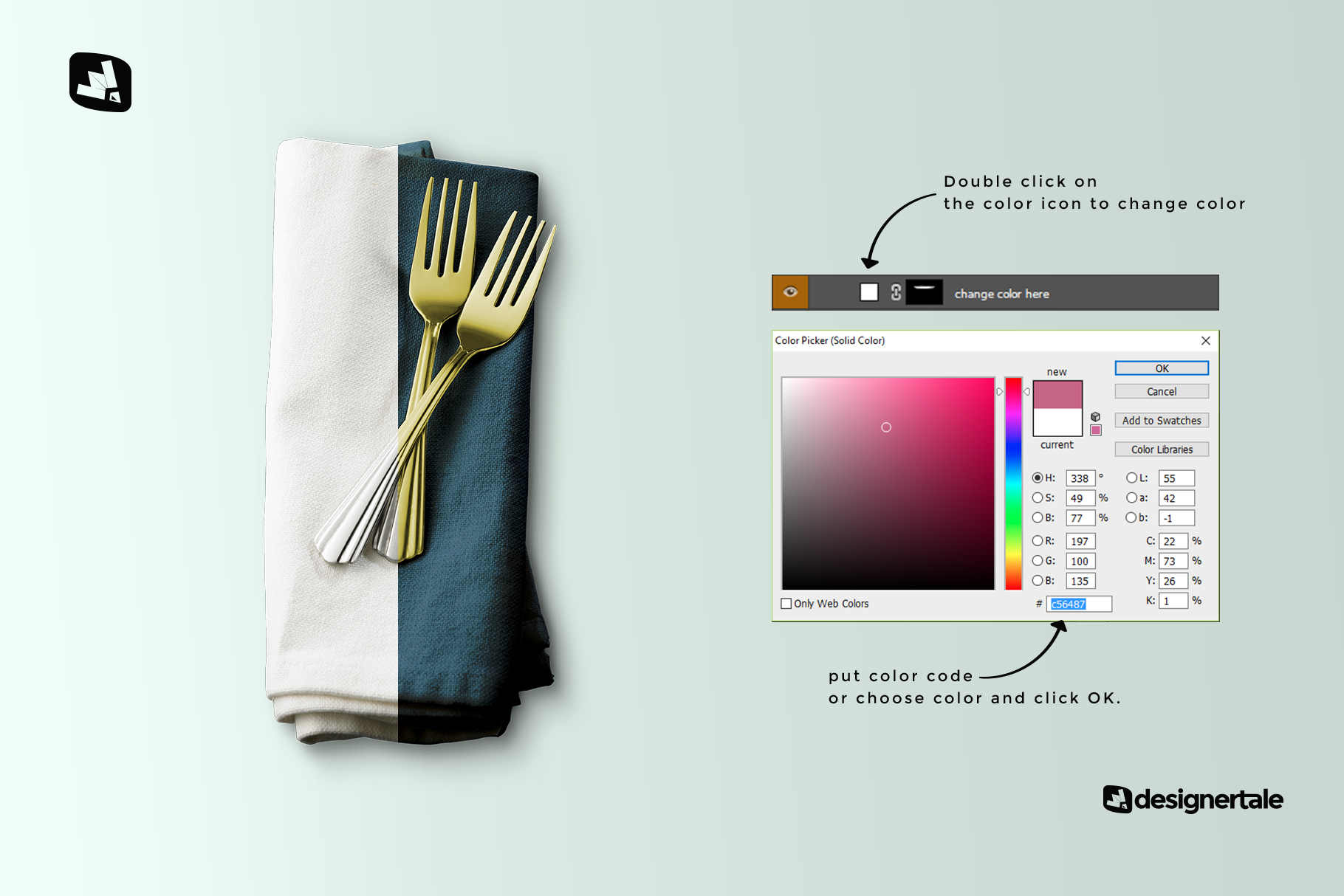how to change color of the dinner napkin with cutlery mockup