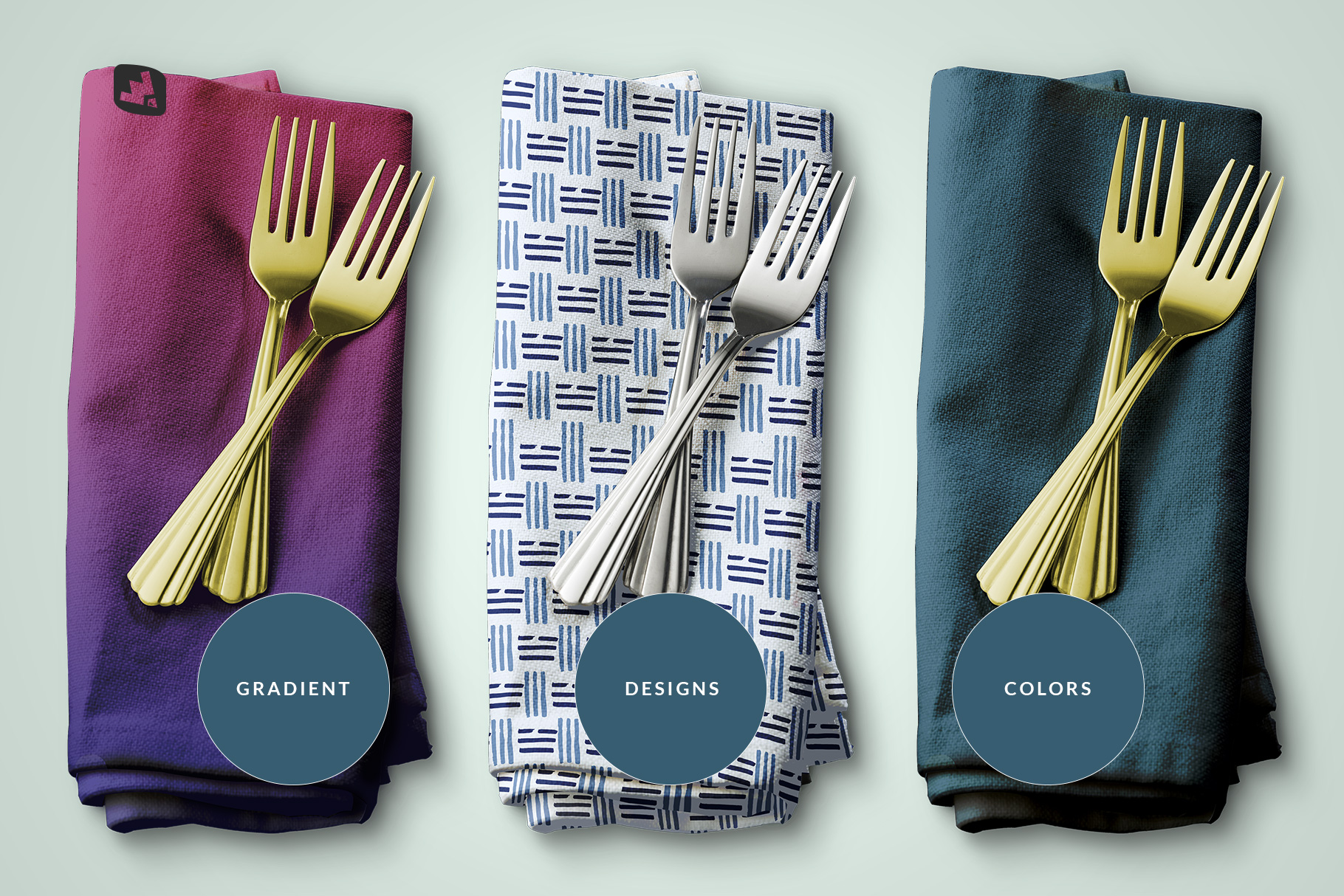 types of the dinner napkin with cutlery mockup