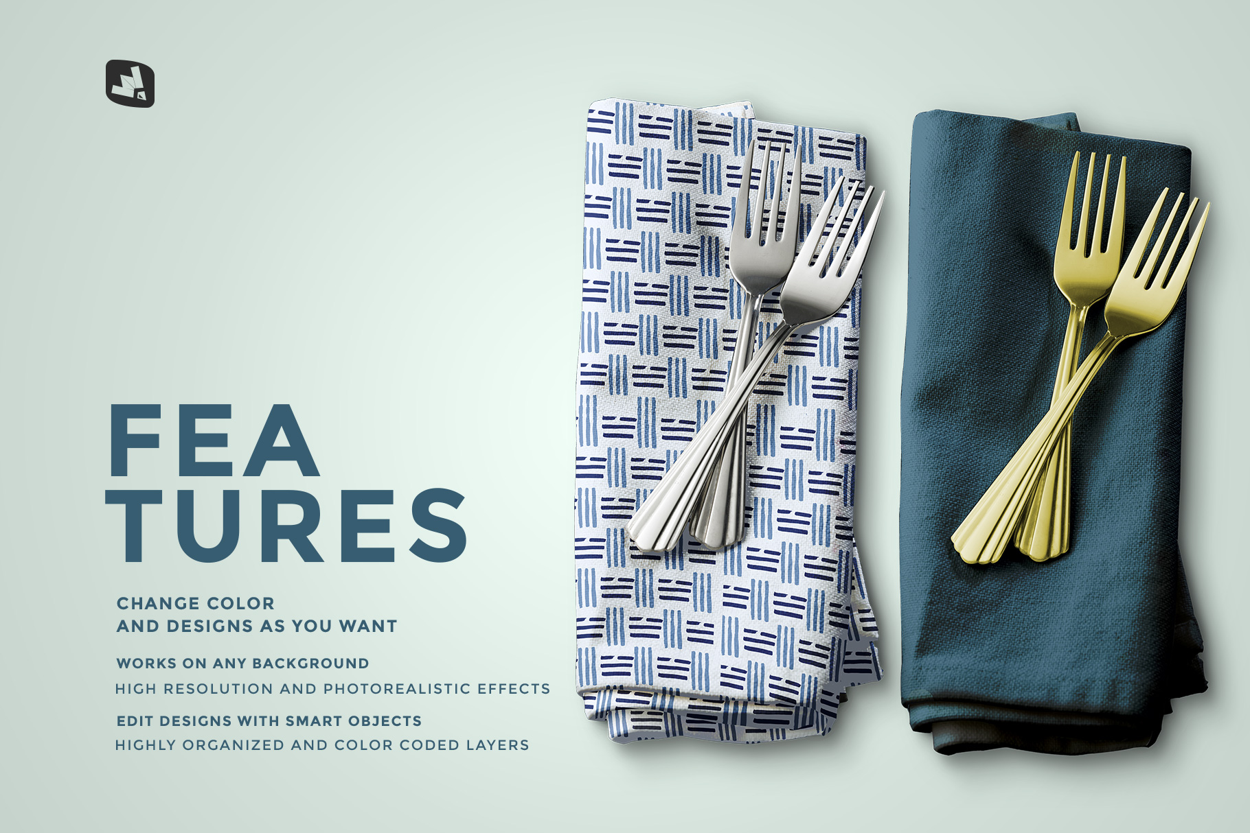 features of the dinner napkin with cutlery mockup