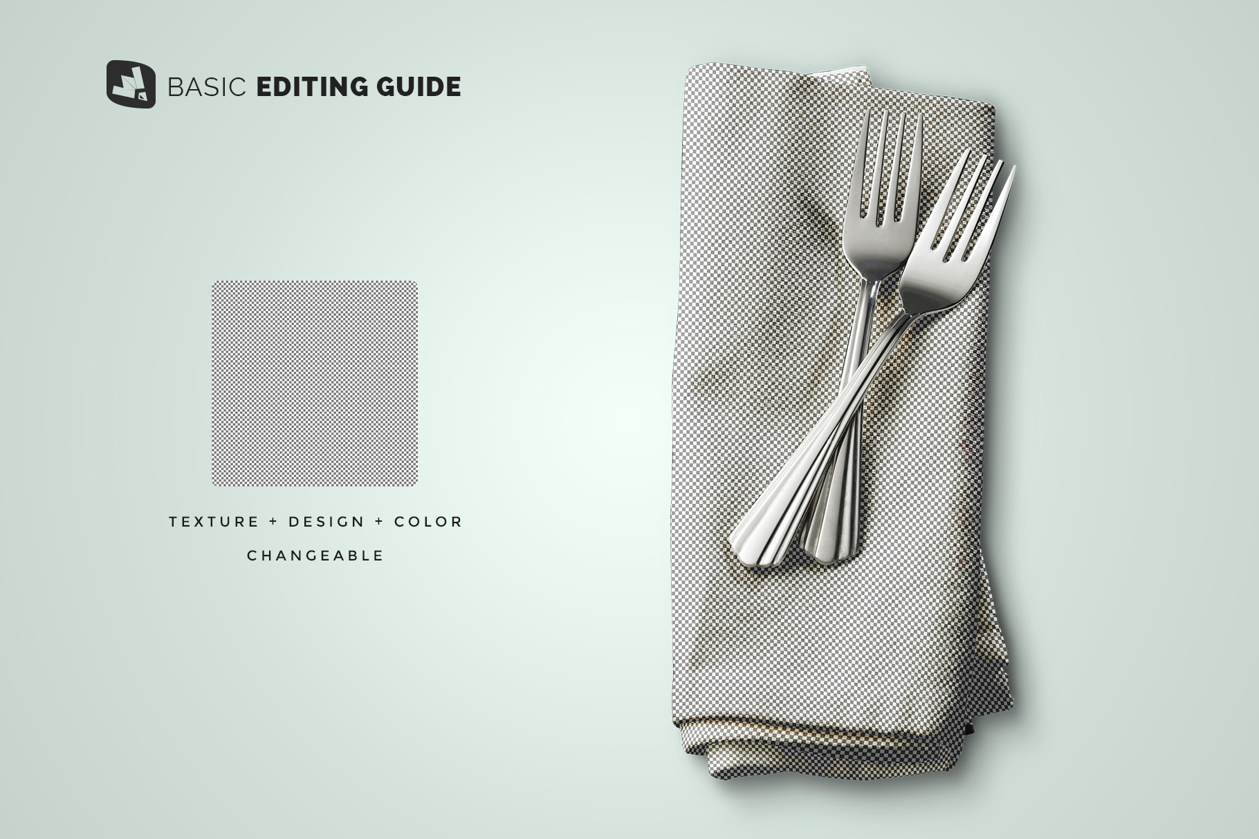 editability of the dinner napkin with cutlery mockup