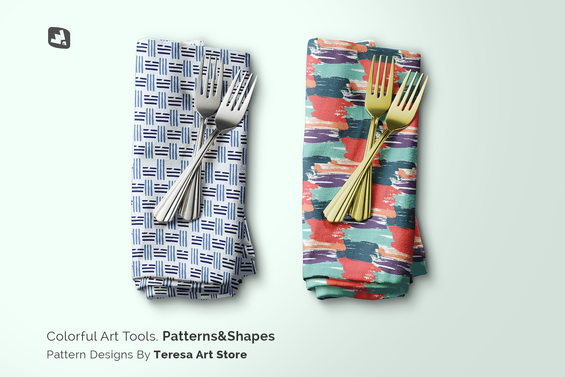 designer's credit of the dinner napkin with cutlery mockup