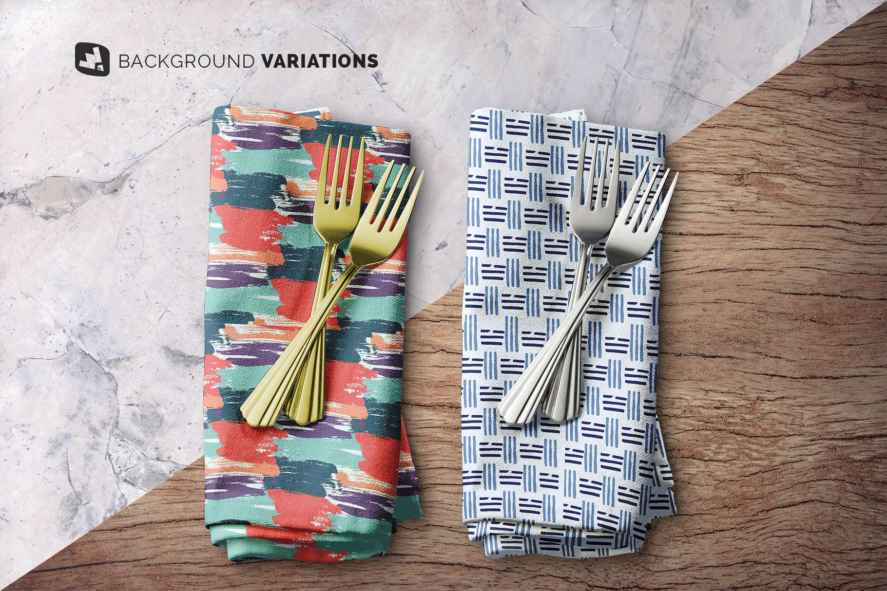 background options of the dinner napkin with cutlery mockup