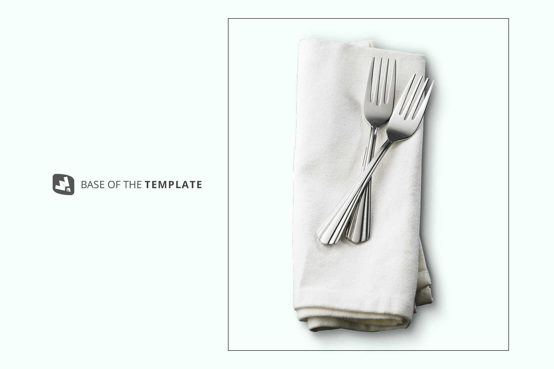 base image of the dinner napkin with cutlery mockup