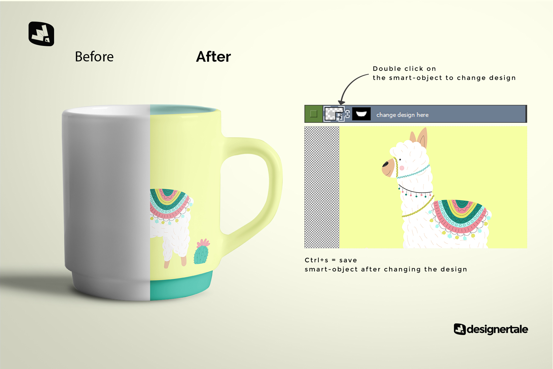 how to change design of the porcelain coffee cups set mockup