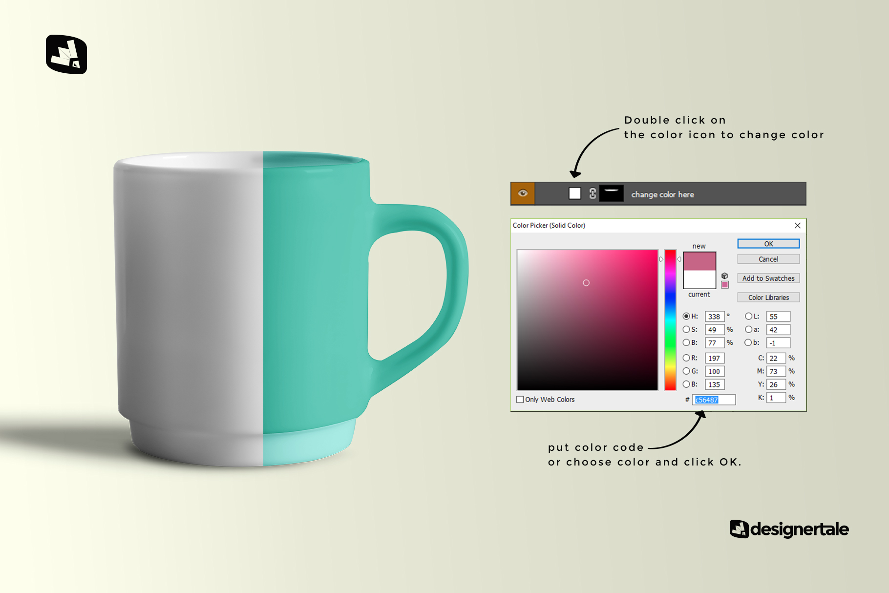 how to change color of the porcelain coffee cups set mockup