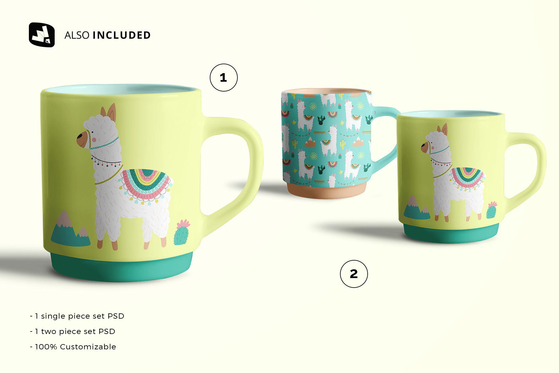 files included in the porcelain coffee cups set mockup