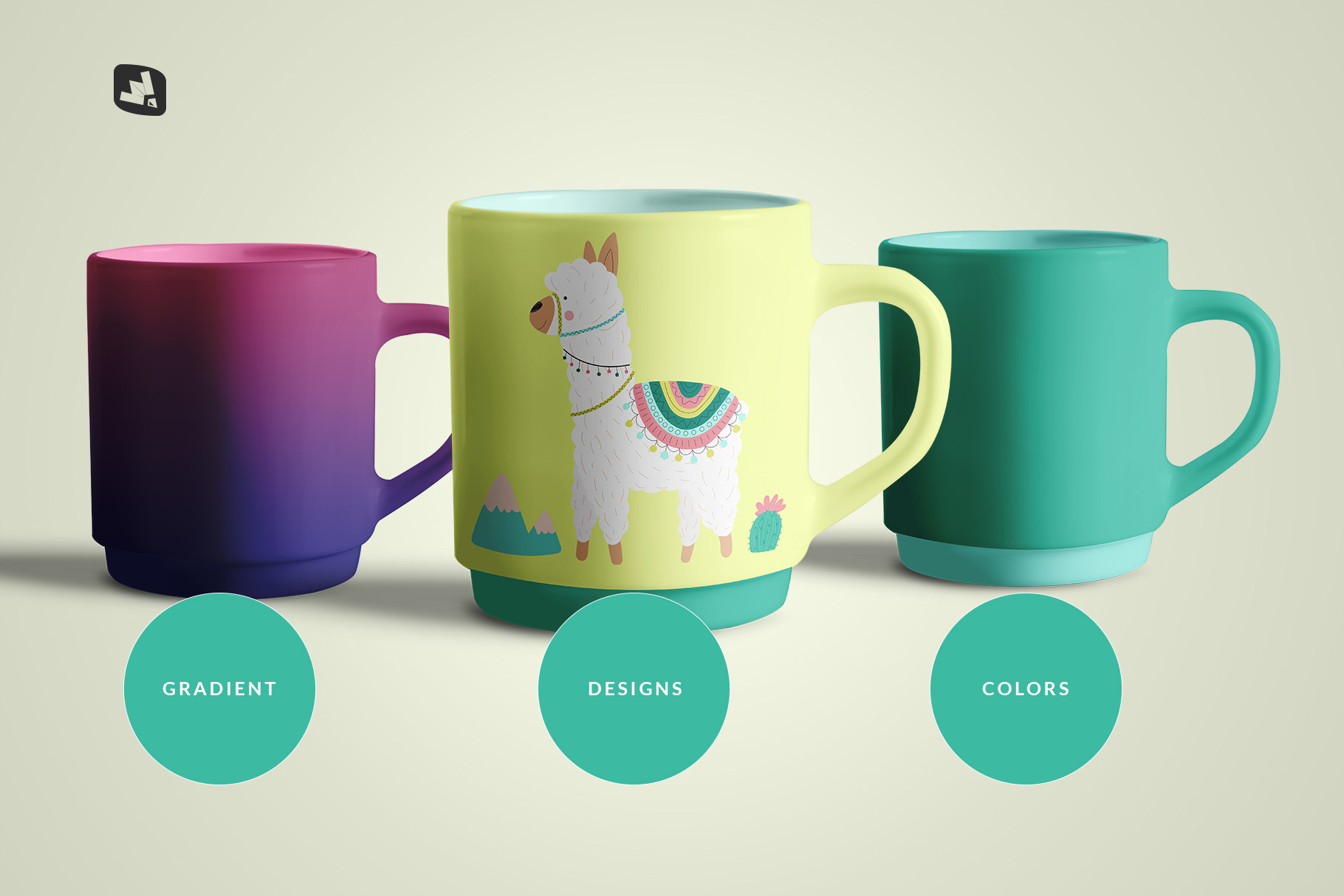 types of the porcelain coffee cups set mockup